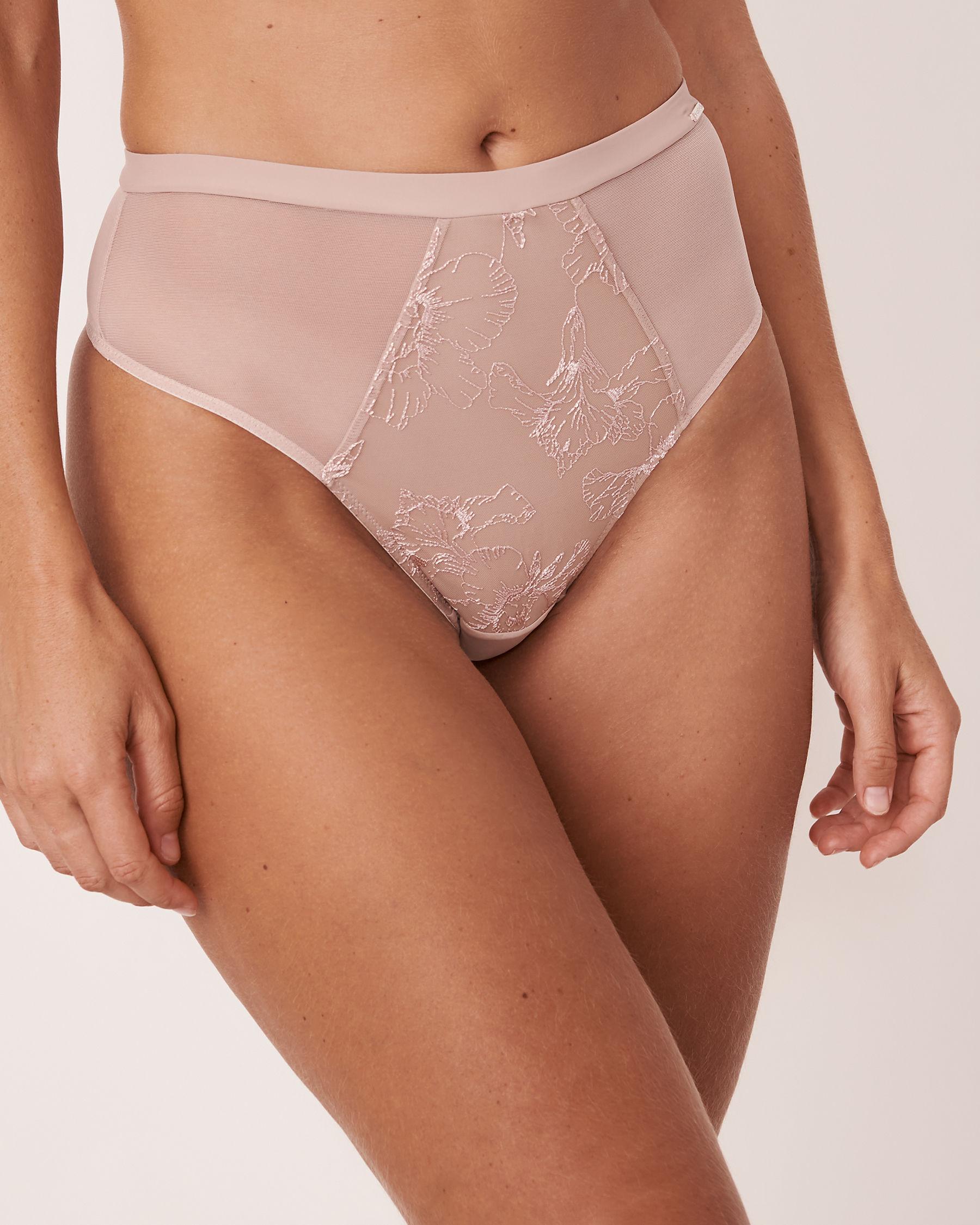 LA VIE EN ROSE High Waist Thong Panty Iris embroidery 20300041 - View1