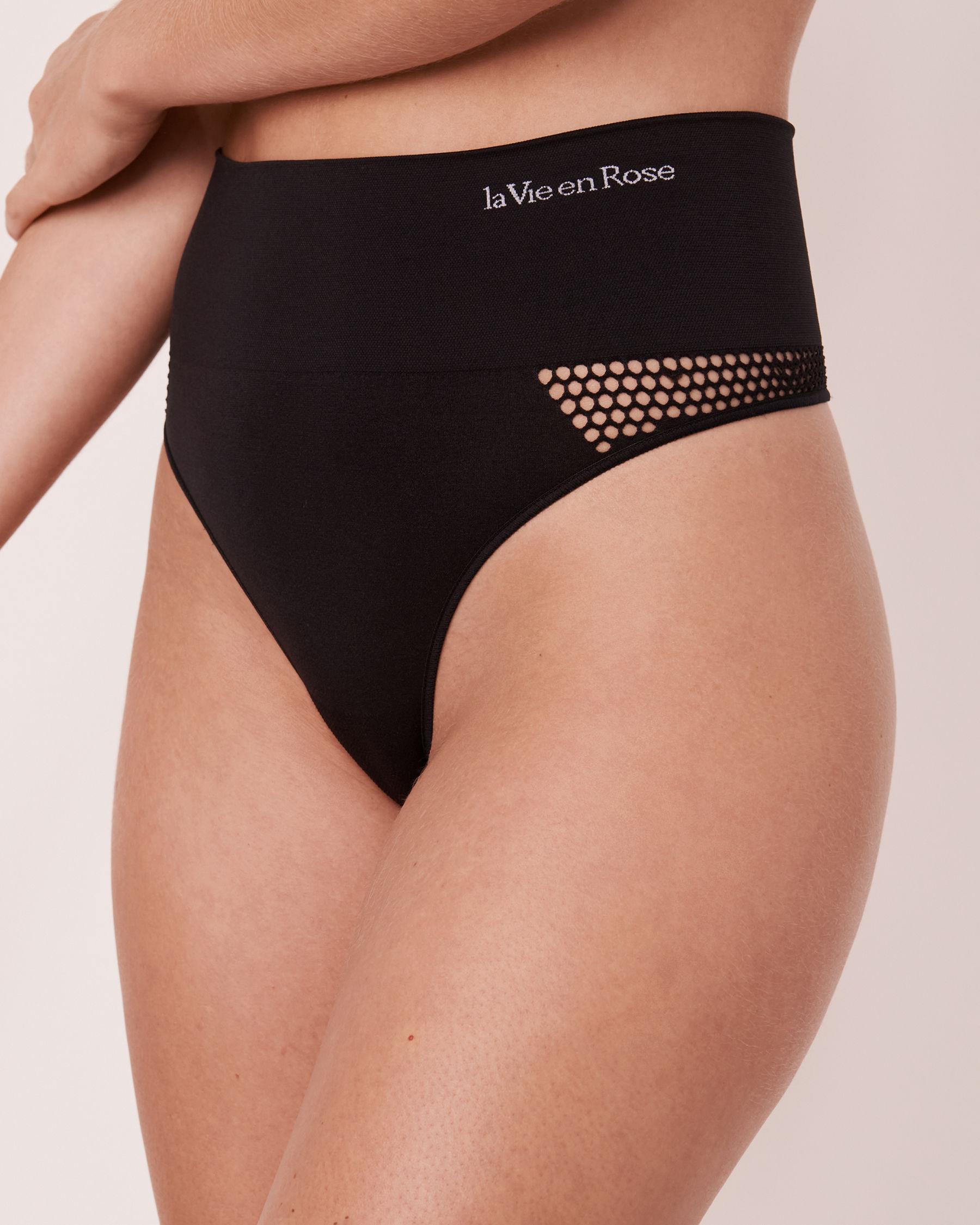 LA VIE EN ROSE Seamless High Waist Thong Panty Black 20200086 - View1