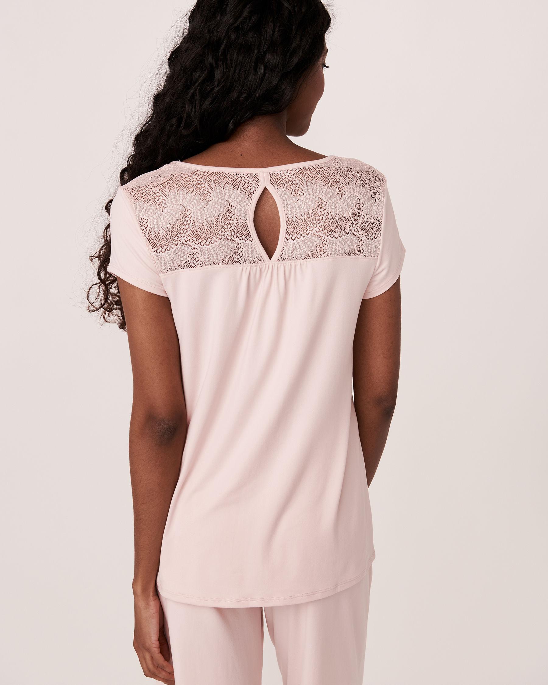 LA VIE EN ROSE Chandail manches courtes garniture de dentelle Rose pâle 40100076 - Voir3
