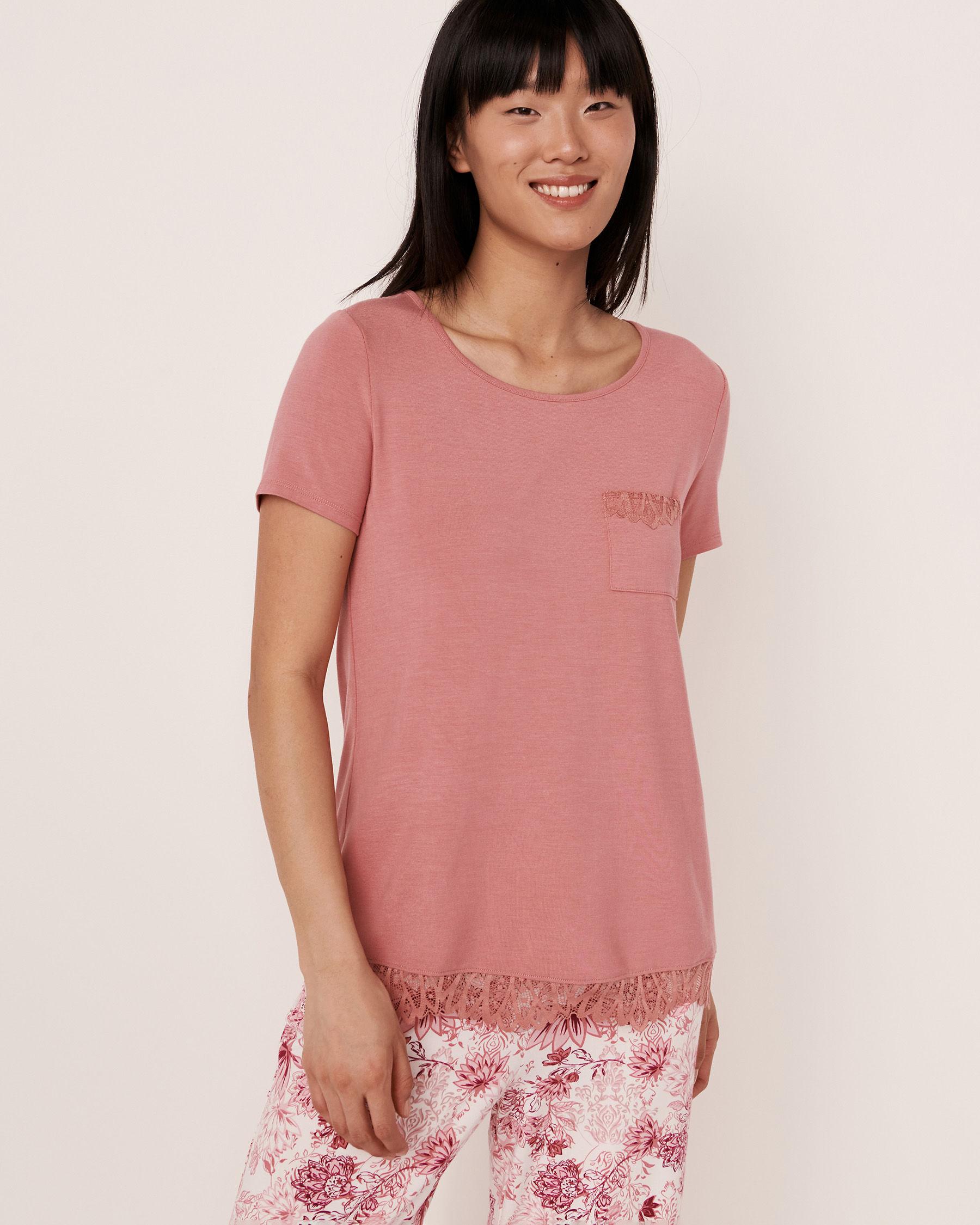 LA VIE EN ROSE Chandail manches courtes garniture de dentelle en modal Vieux rose 40100081 - Voir1