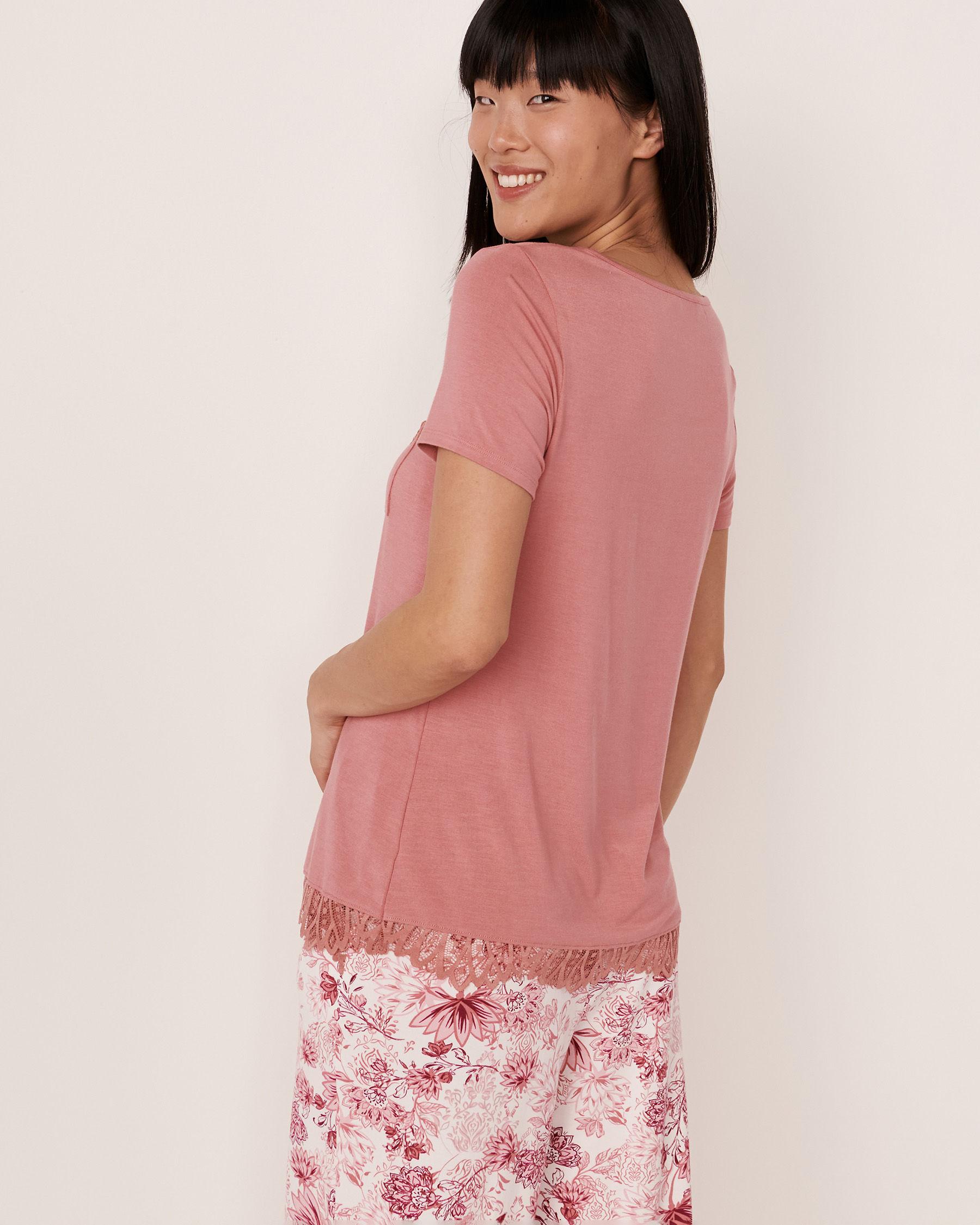 LA VIE EN ROSE Chandail manches courtes garniture de dentelle en modal Vieux rose 40100081 - Voir2