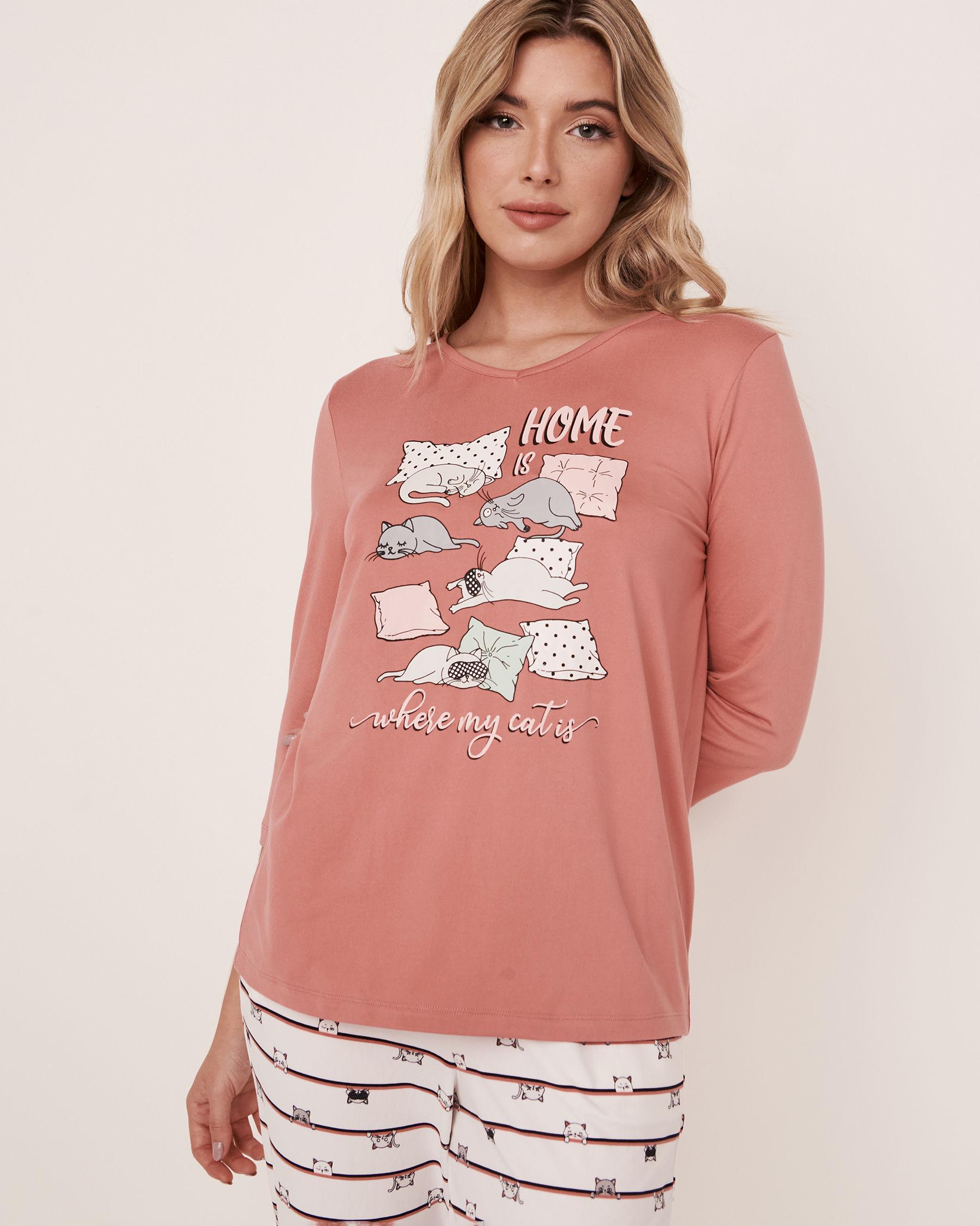 LA VIE EN ROSE V-neckline 3/4 Sleeve Shirt Dusty rose 40100087 - View1