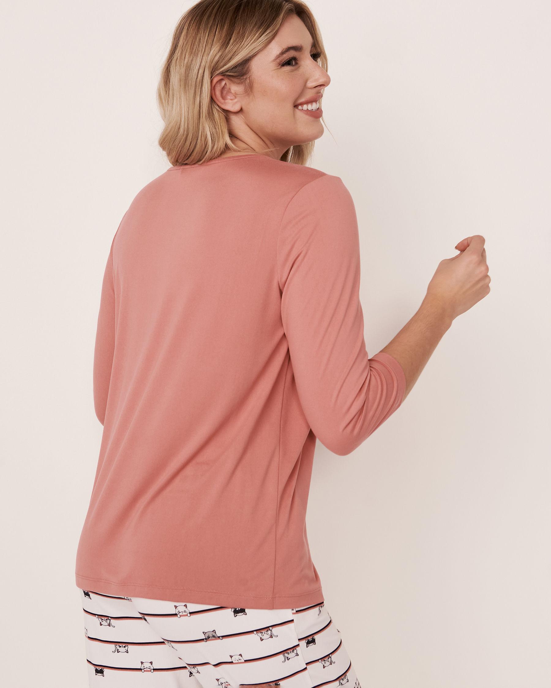 LA VIE EN ROSE V-neckline 3/4 Sleeve Shirt Dusty rose 40100087 - View2