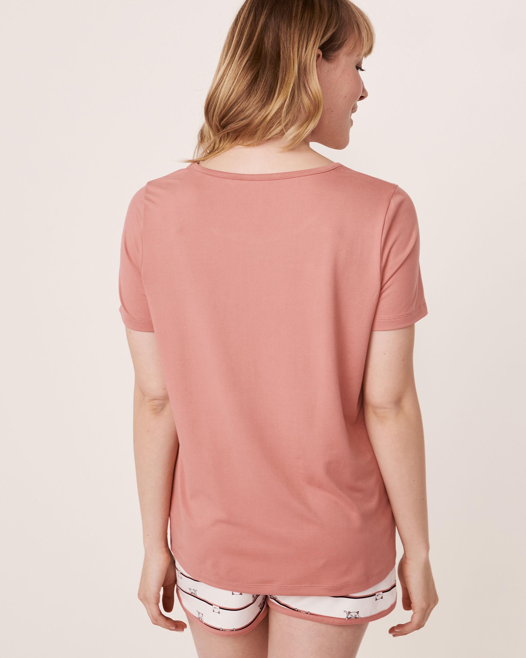 LA VIE EN ROSE Scoop Neck T-shirt Dusty rose 40100088 - View2