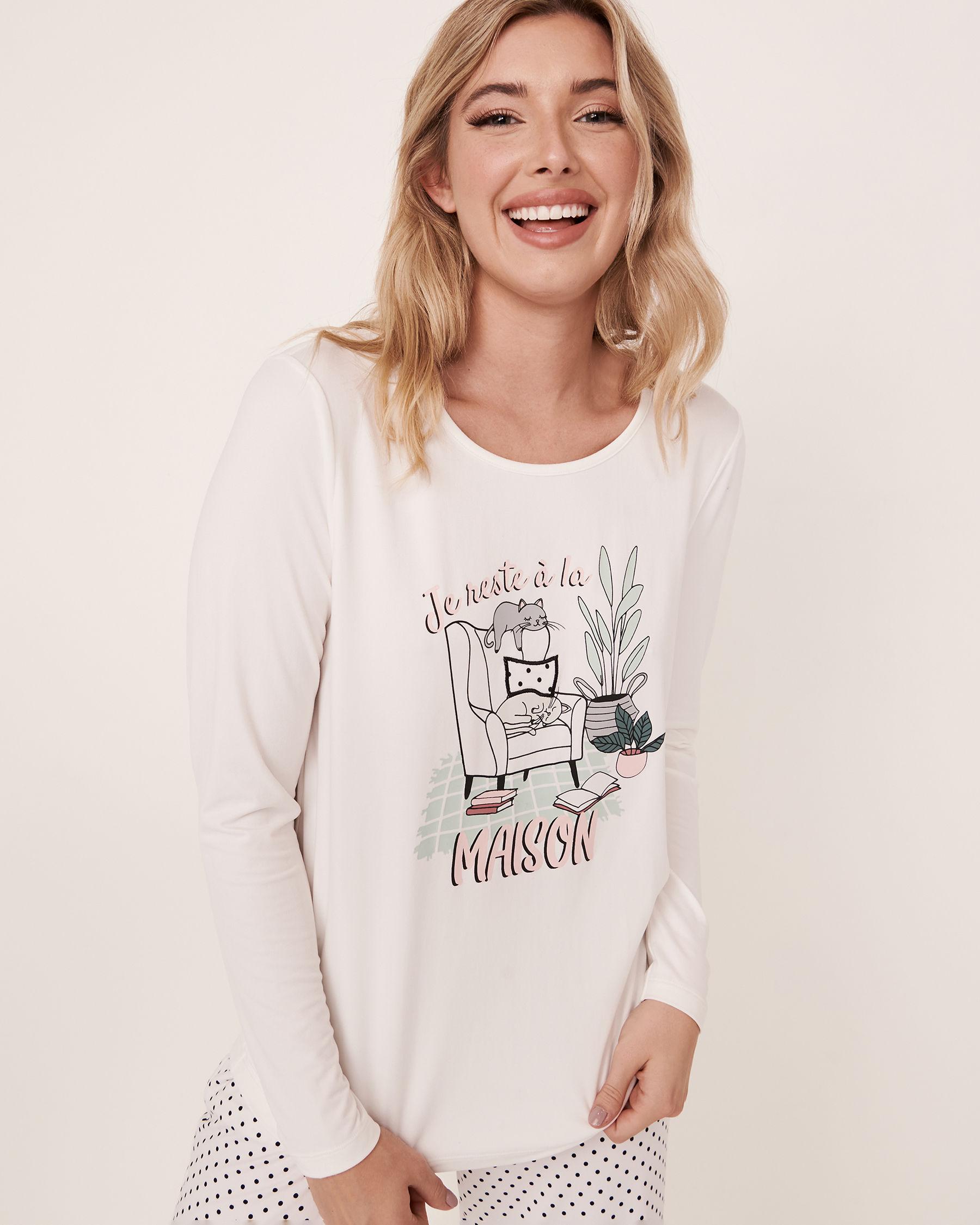 LA VIE EN ROSE Scoop Neck Long Sleeve Shirt White 40100089 - View1