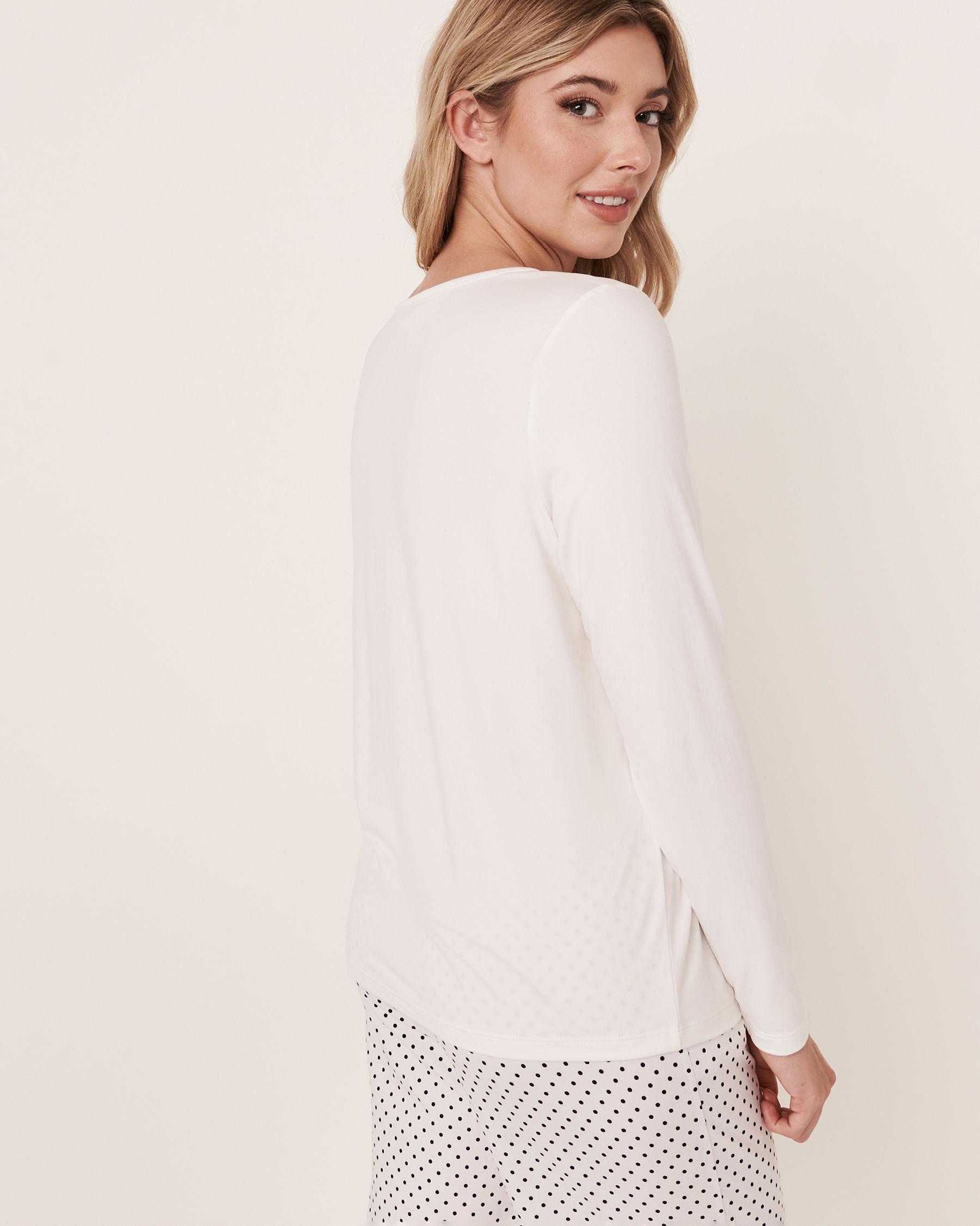 LA VIE EN ROSE Scoop Neck Long Sleeve Shirt White 40100089 - View2