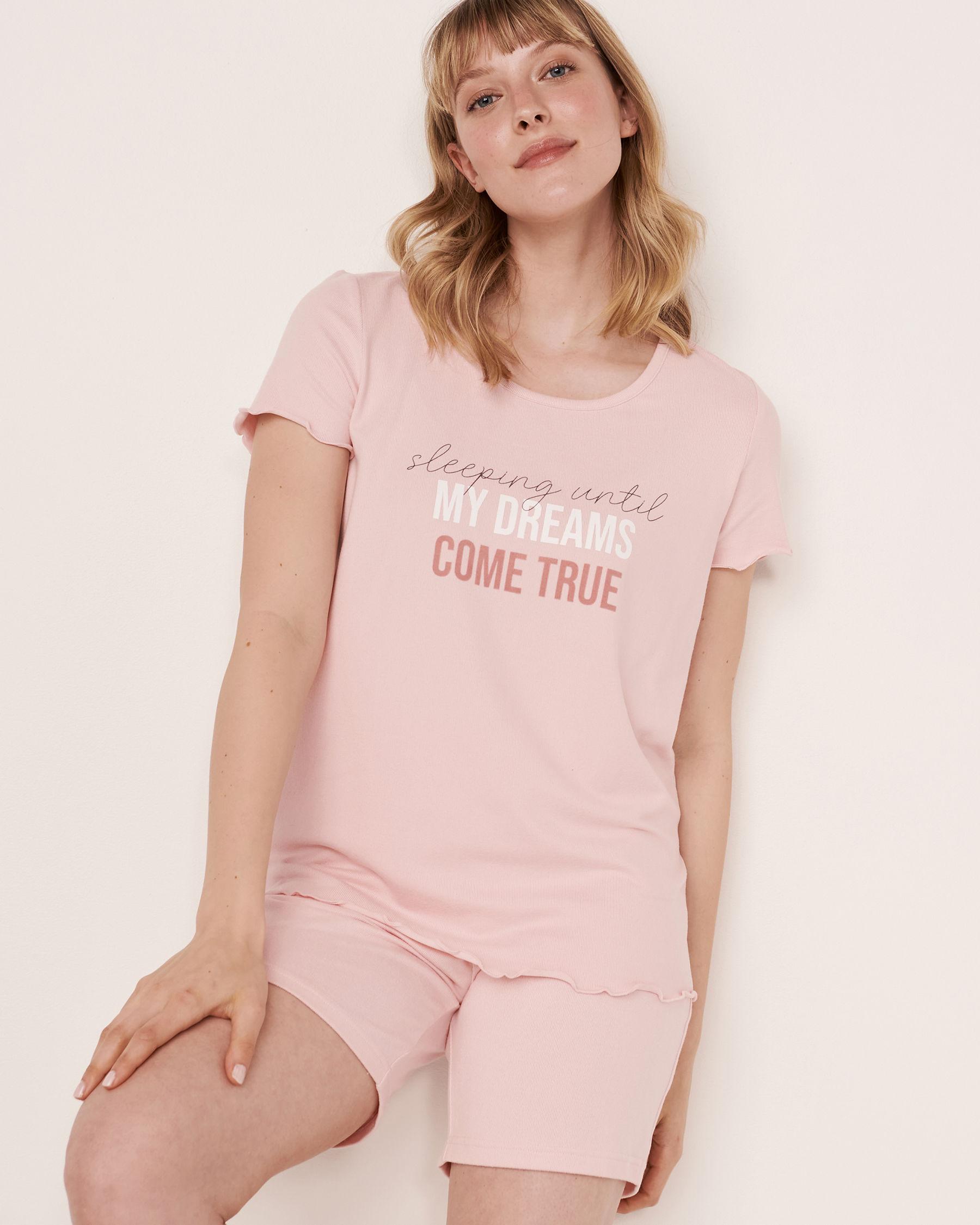 LA VIE EN ROSE Recycled Fibers Scoop Neck T-shirt Light pink 40100090 - View1