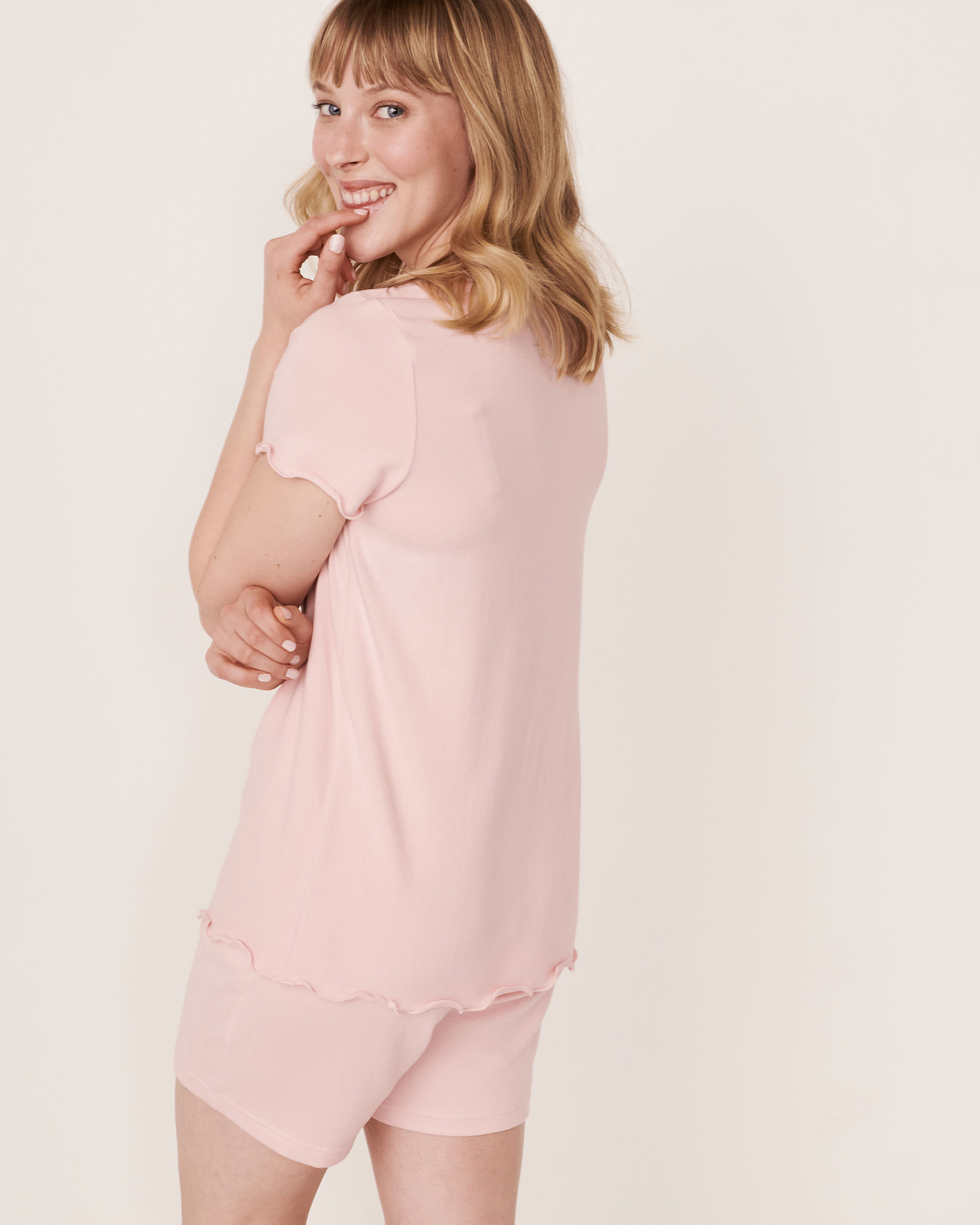 LA VIE EN ROSE Recycled Fibers Scoop Neck T-shirt Light pink 40100090 - View2