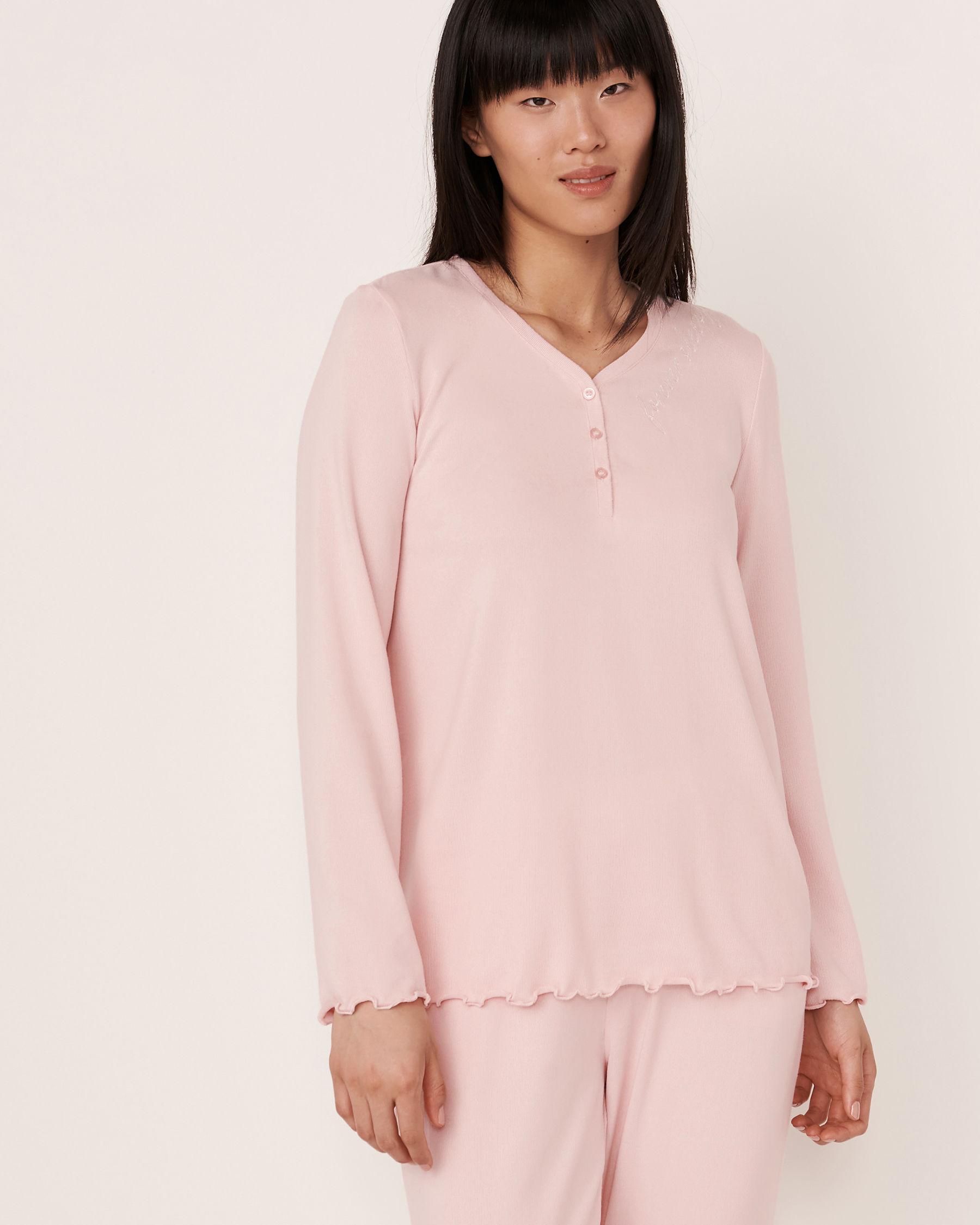 LA VIE EN ROSE Recycled Fibers Henley Long Sleeve Shirt Light pink 40100091 - View1
