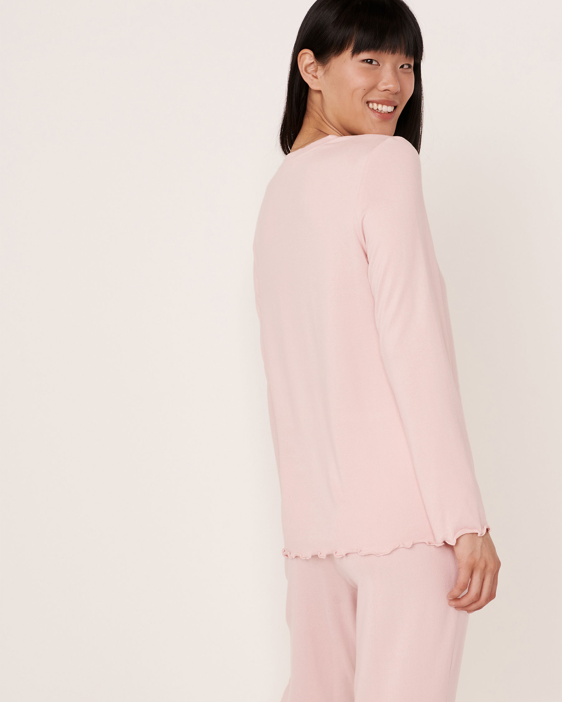 LA VIE EN ROSE Recycled Fibers Henley Long Sleeve Shirt Light pink 40100091 - View2
