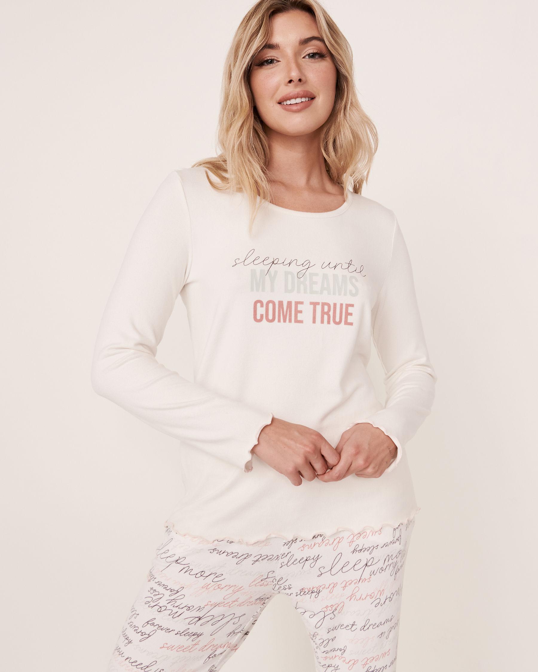 LA VIE EN ROSE Recycled Fibers Scoop Neck Long Sleeve Shirt White 40100093 - View1