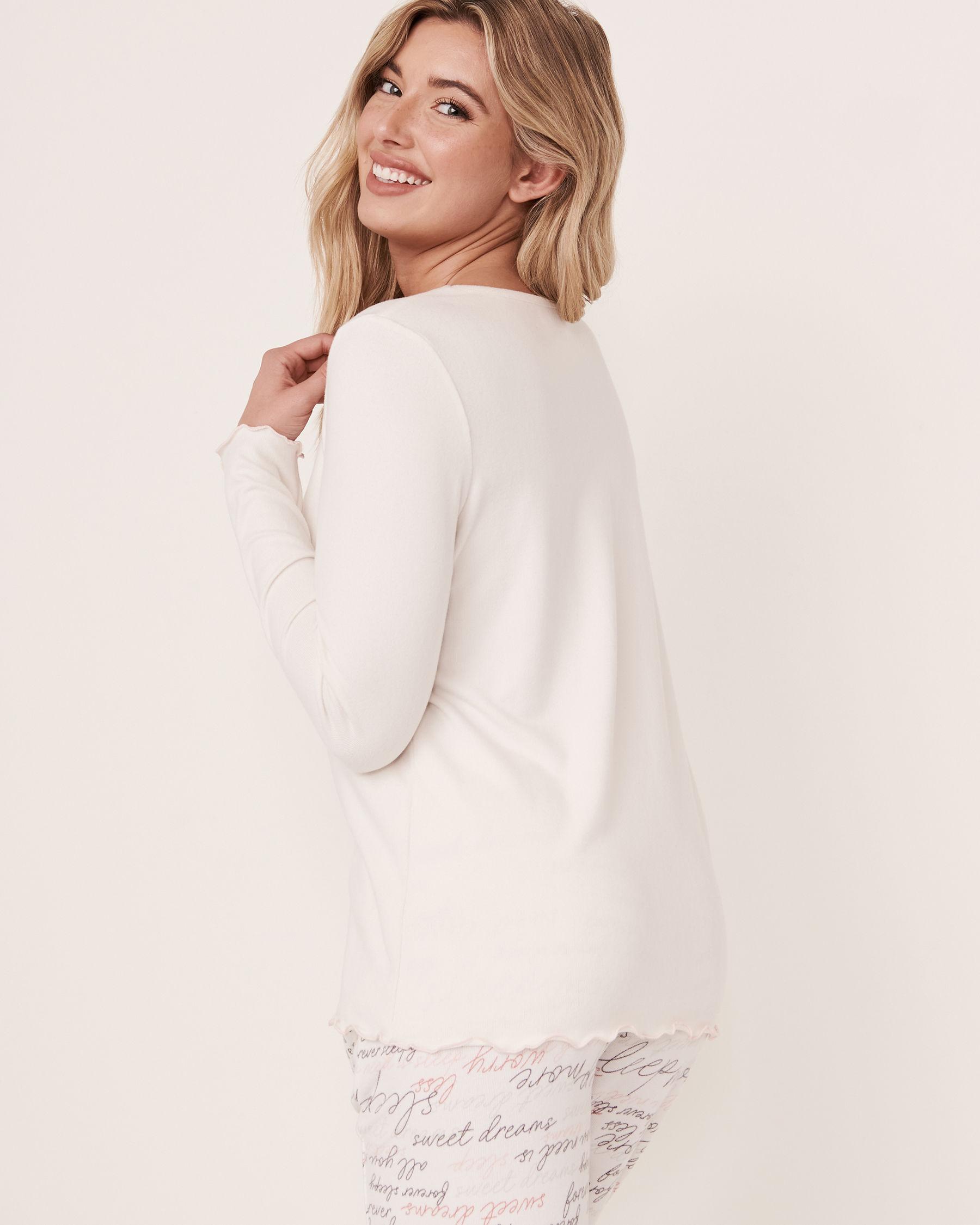 LA VIE EN ROSE Recycled Fibers Scoop Neck Long Sleeve Shirt White 40100093 - View2