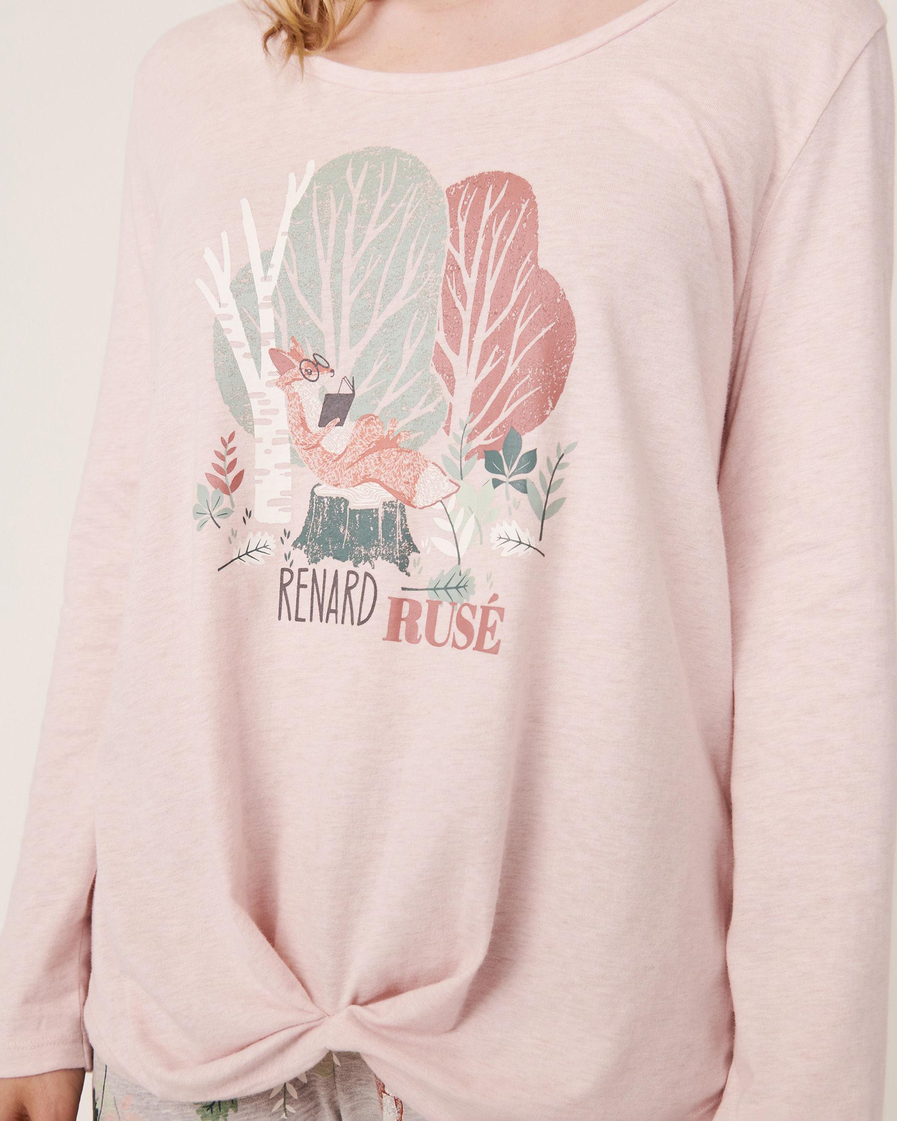 LA VIE EN ROSE Long Sleeve Twisted Shirt Pink mix 40100098 - View3