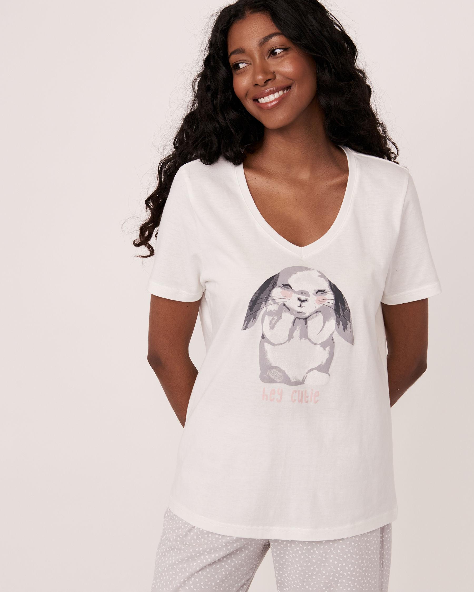 LA VIE EN ROSE V-neckline T-shirt White 40100109 - View1