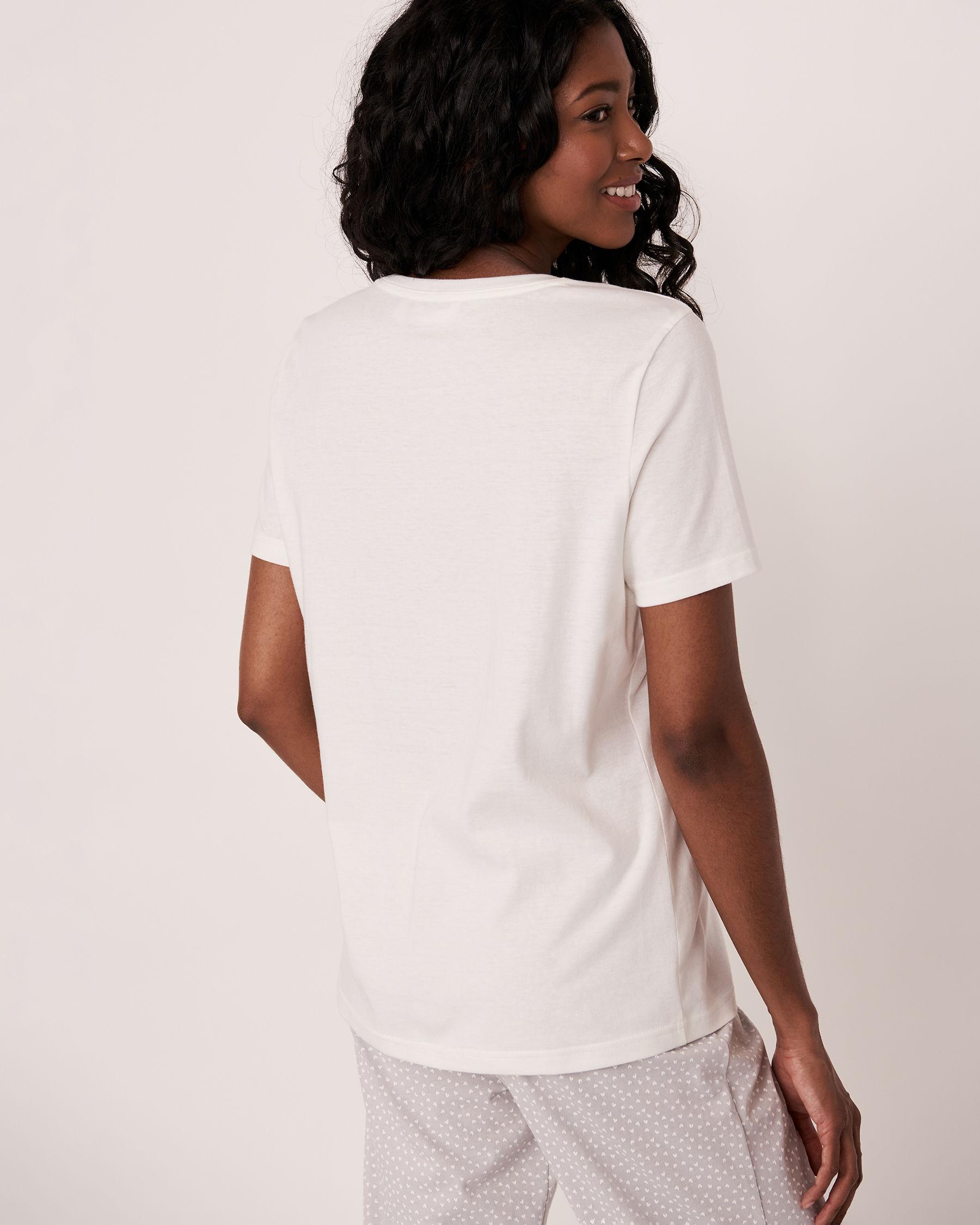 LA VIE EN ROSE V-neckline T-shirt White 40100109 - View2