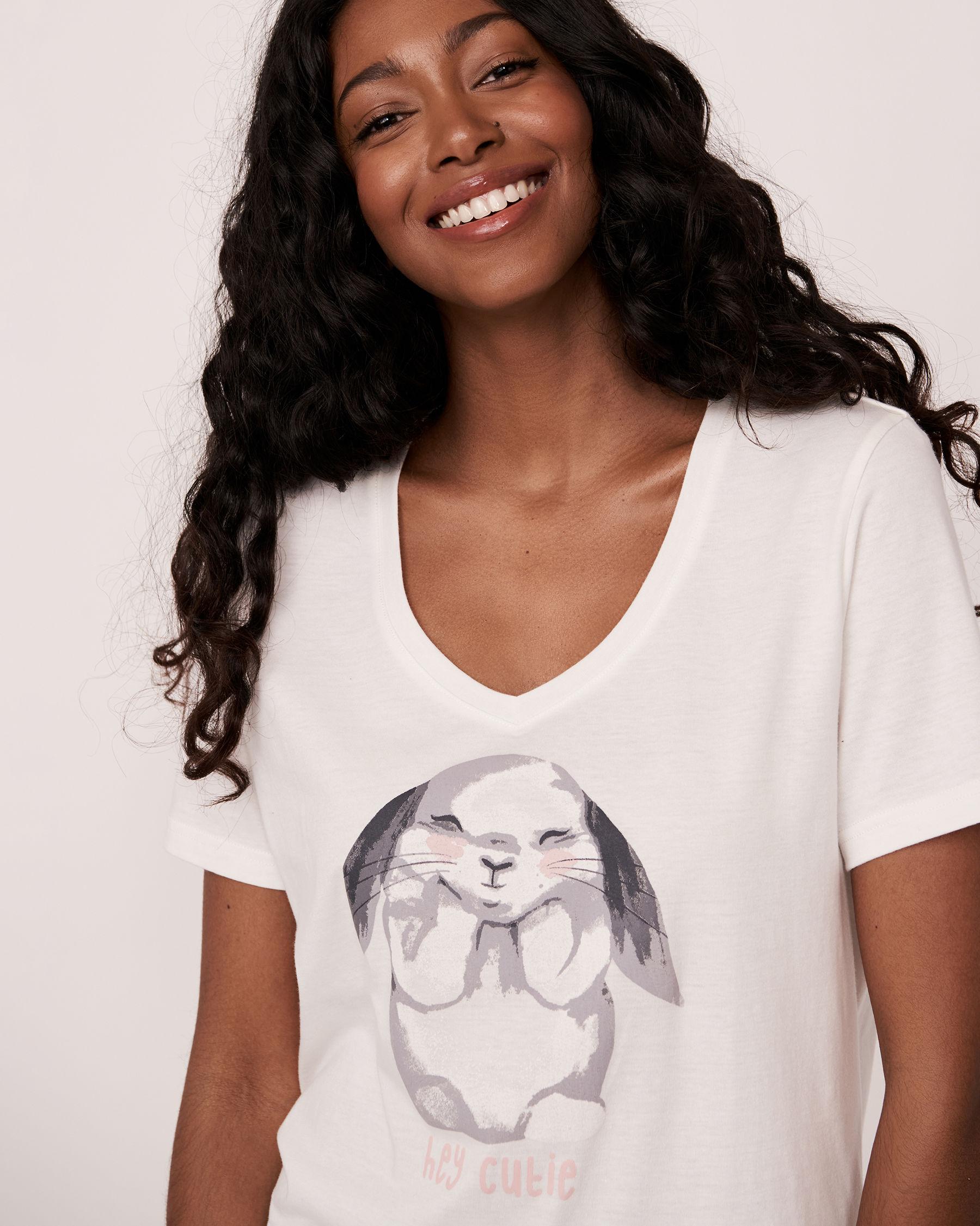 LA VIE EN ROSE V-neckline T-shirt White 40100109 - View3