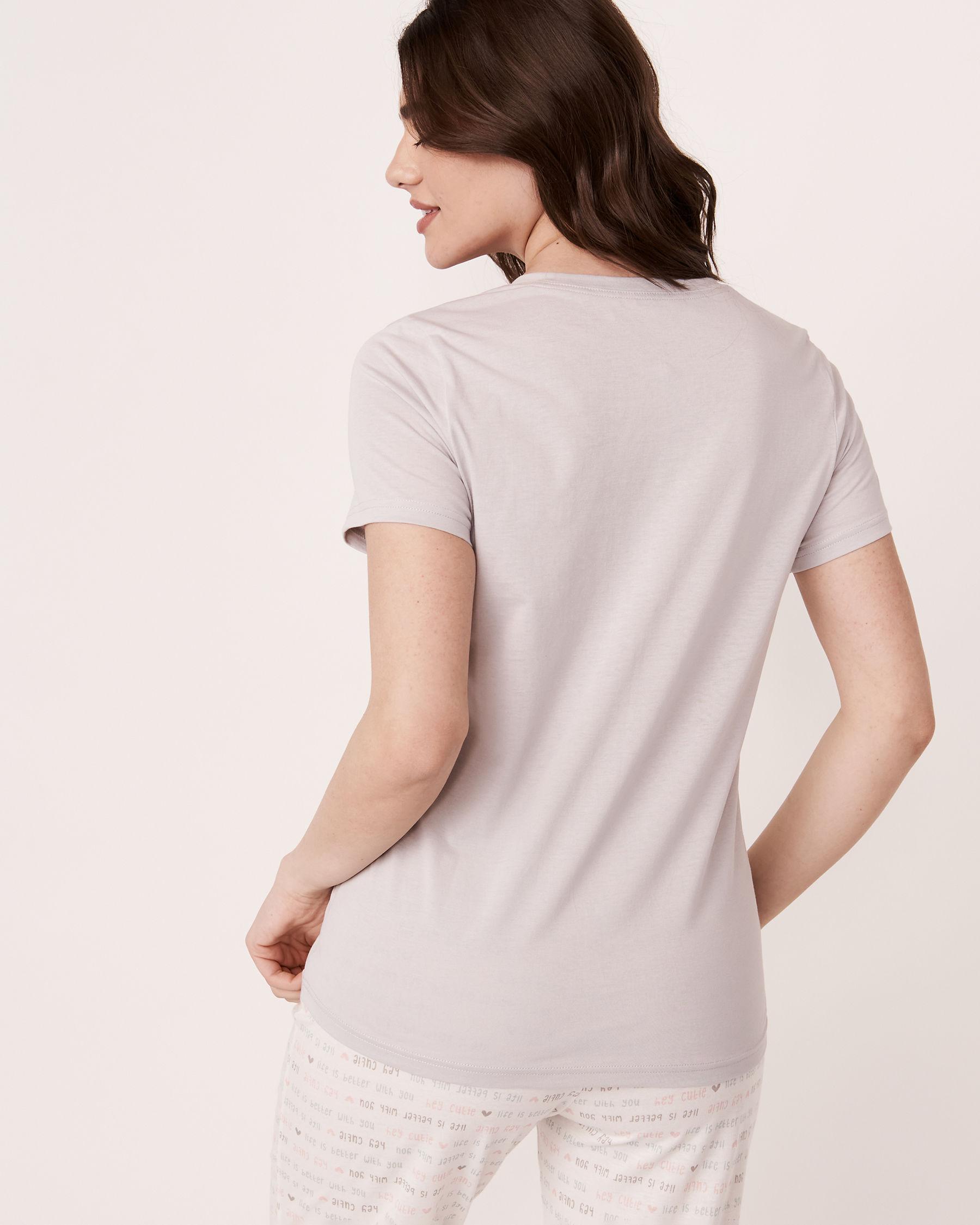LA VIE EN ROSE Scoop Neck T-shirt Grey print 40100110 - View2