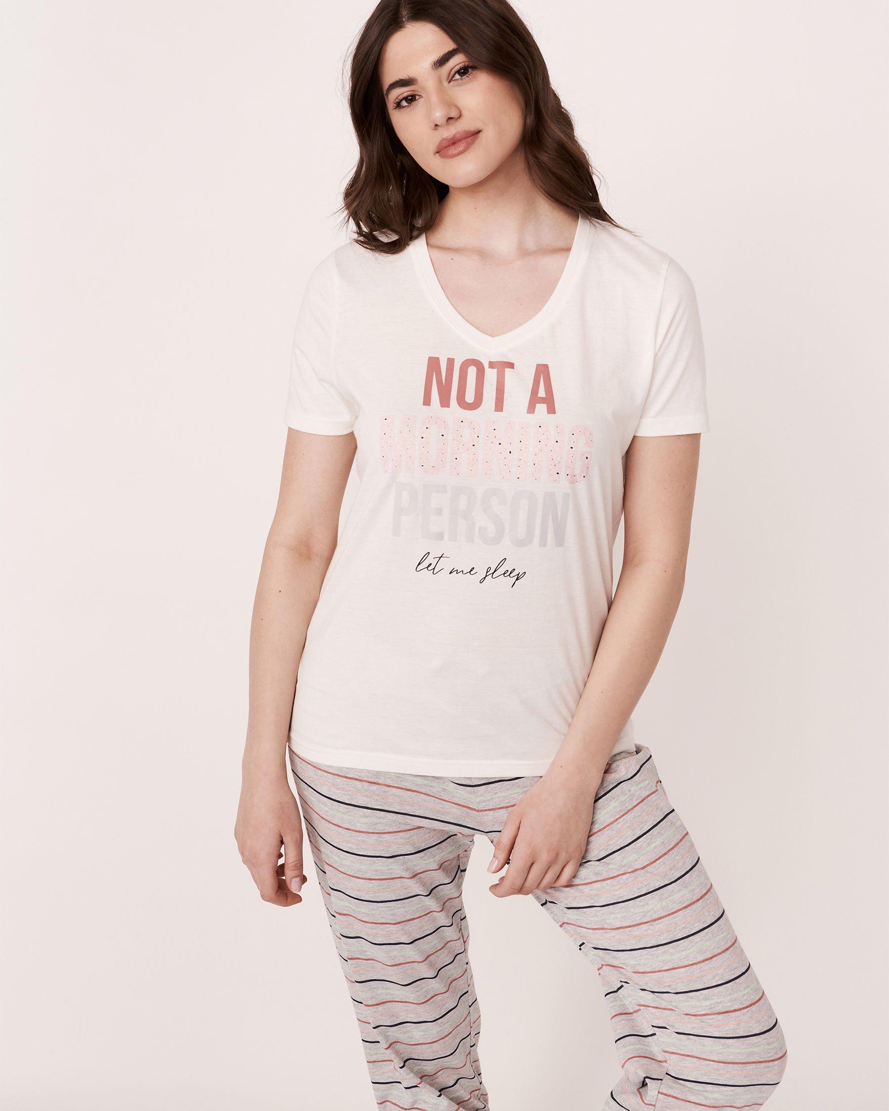 LA VIE EN ROSE V-neckline T-Shirt White 40100114 - View2