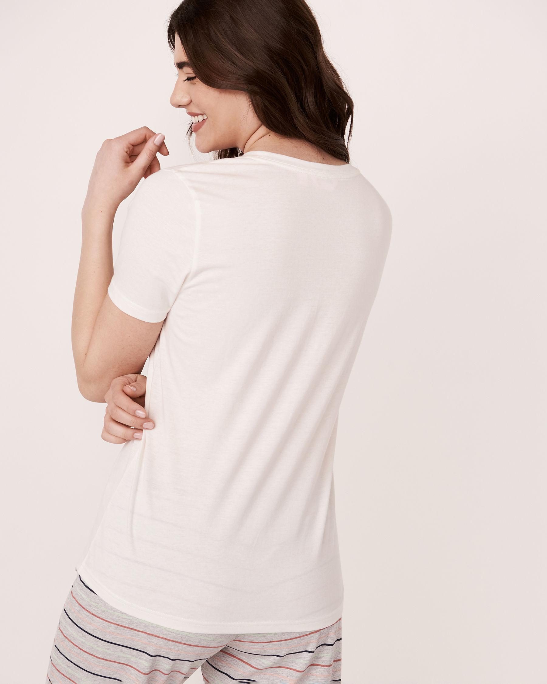 LA VIE EN ROSE V-neckline T-Shirt White 40100114 - View3