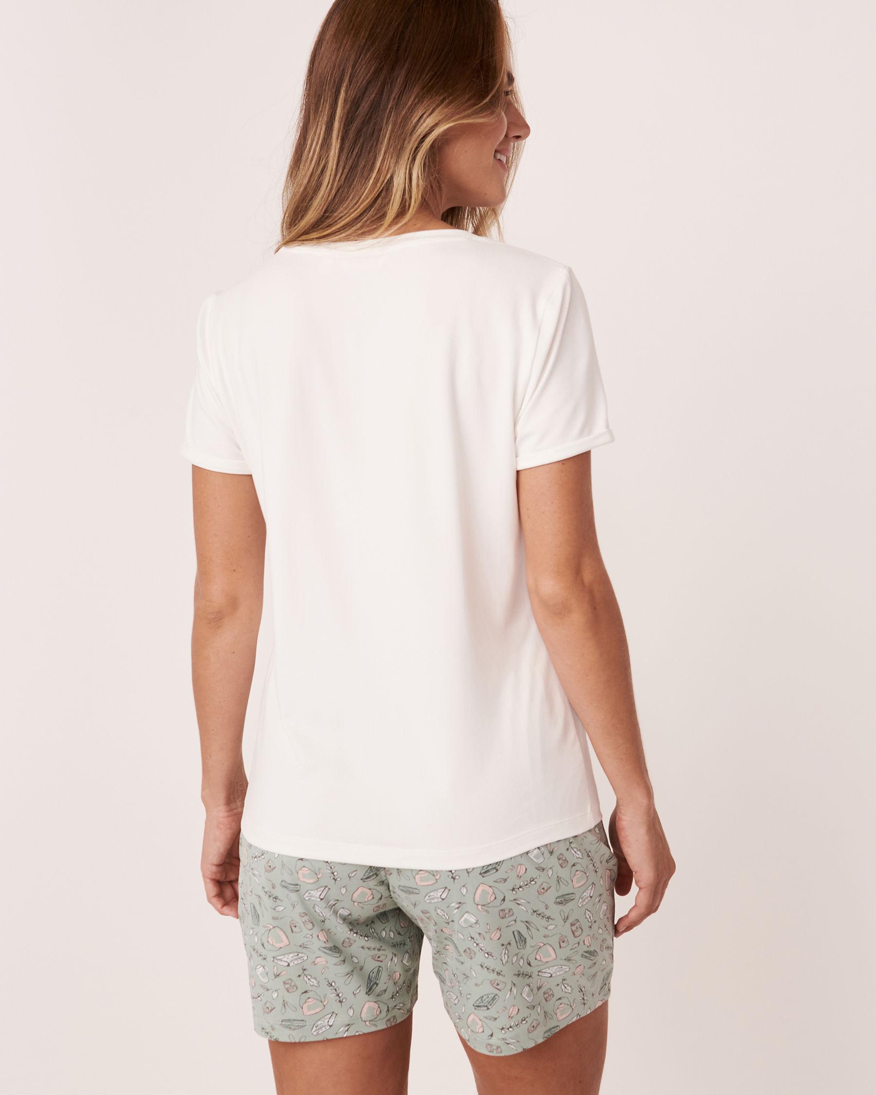 LA VIE EN ROSE V-neckline T-shirt White 40100118 - View2