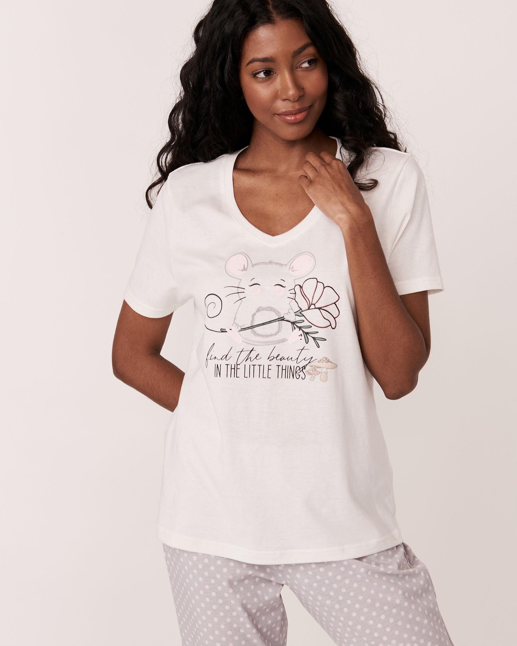 LA VIE EN ROSE Chandail manches courtes encolure en V Blanc 40100123 - Voir1