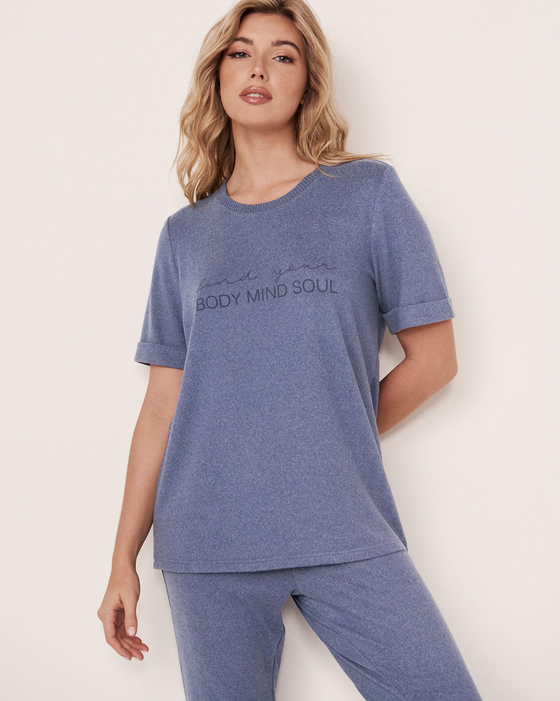 LA VIE EN ROSE Soft Knit T-shirt Blue denim mix 50100011 - View1