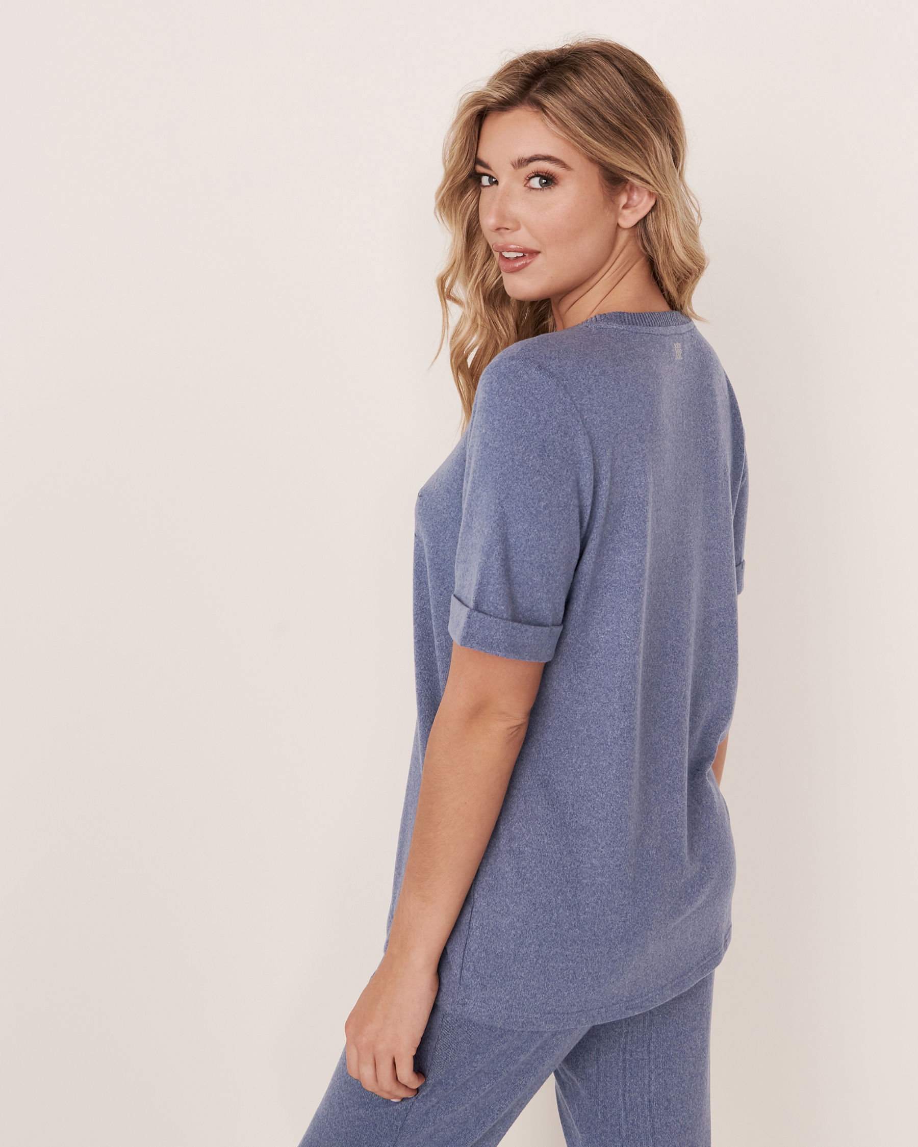 LA VIE EN ROSE Soft Knit T-shirt Blue denim mix 50100011 - View2