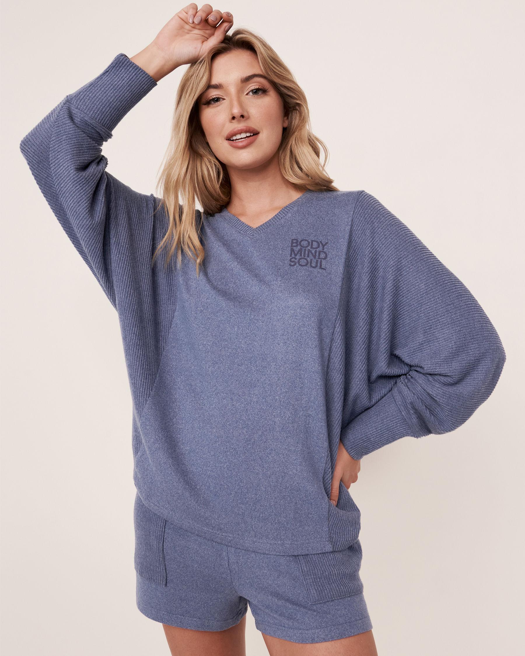 LA VIE EN ROSE Chandail manches longues en tricot doux Mélange bleu jeans 50100012 - Voir1