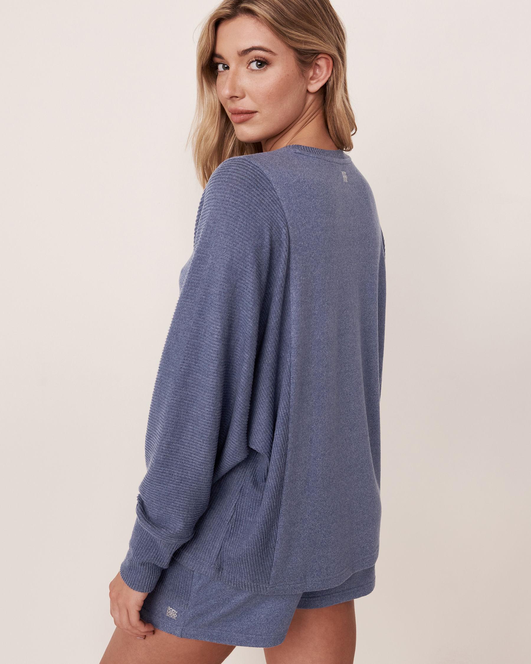 LA VIE EN ROSE Chandail manches longues en tricot doux Mélange bleu jeans 50100012 - Voir2