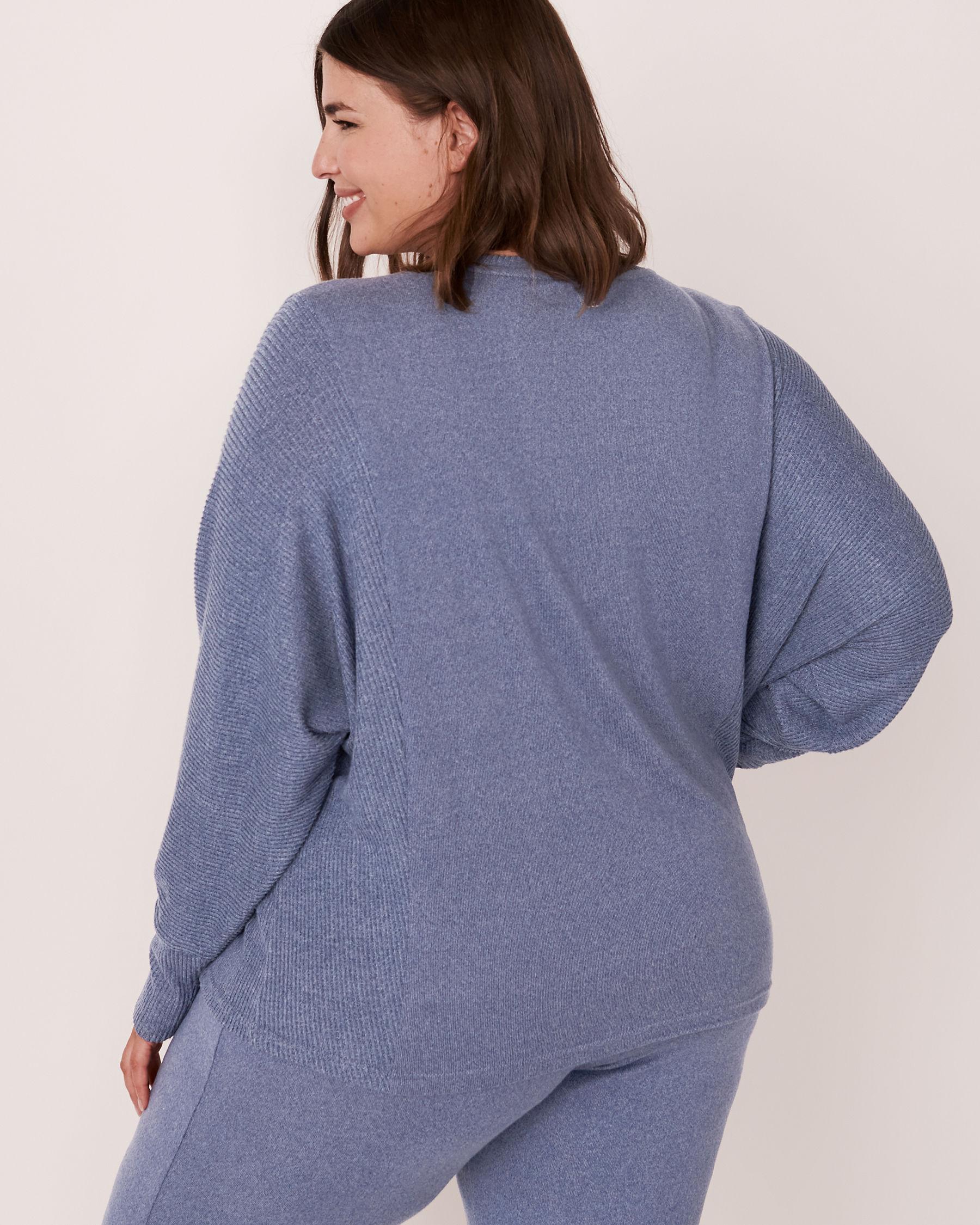 LA VIE EN ROSE Chandail manches longues en tricot doux Mélange bleu jeans 50100012 - Voir5