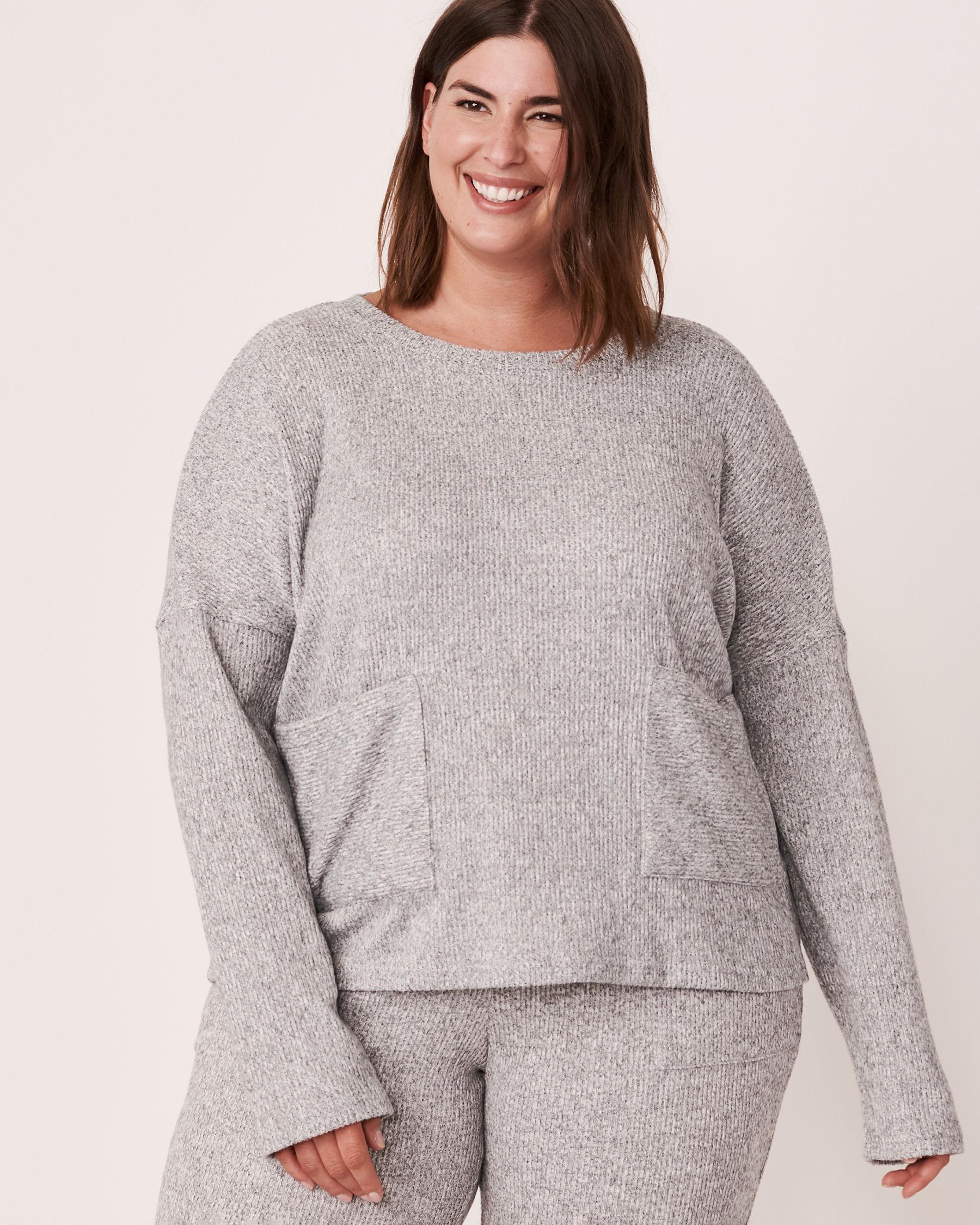 LA VIE EN ROSE Ribbed Long Sleeve Shirt Grey 50100015 - View1