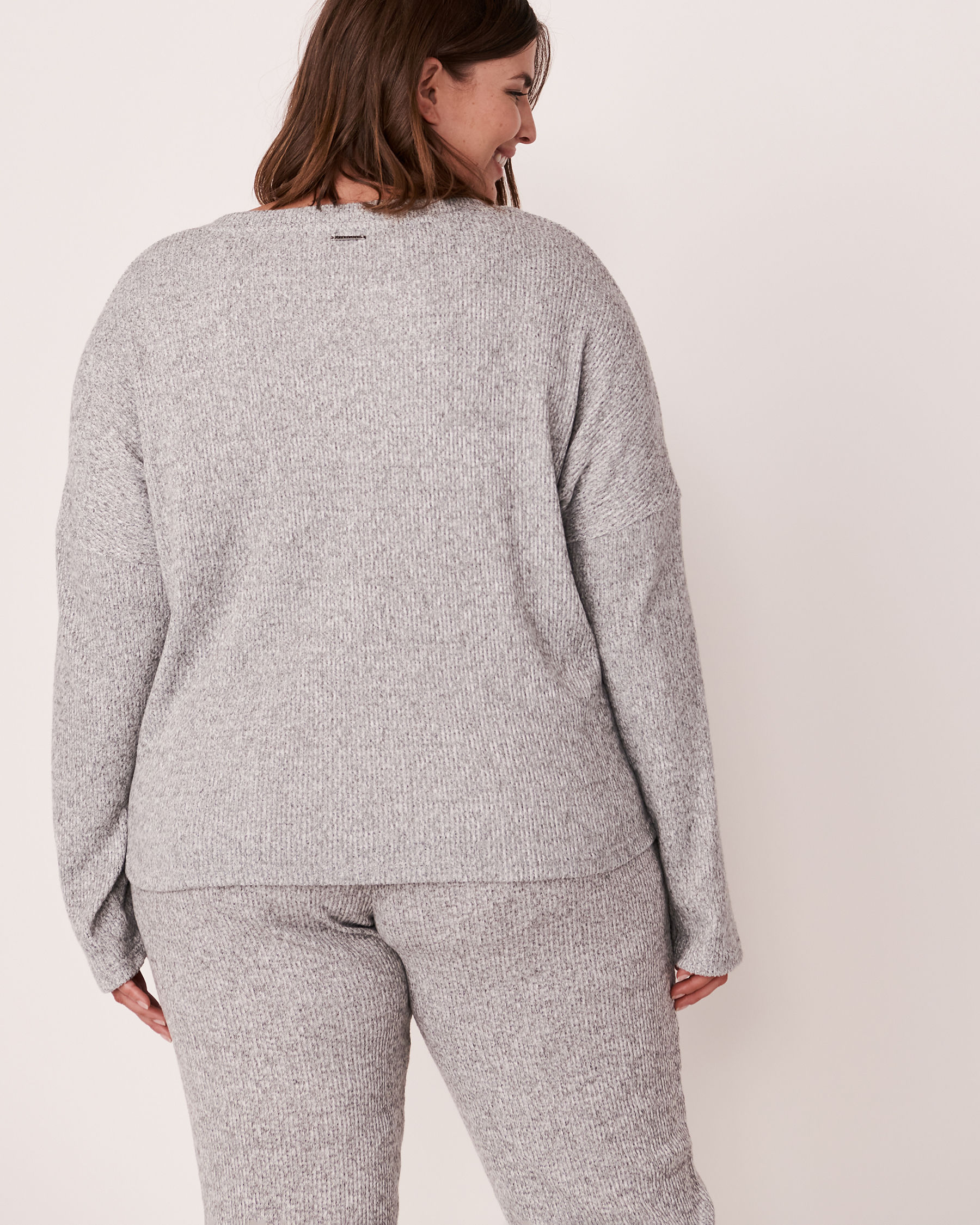 LA VIE EN ROSE Ribbed Long Sleeve Shirt Grey 50100015 - View2
