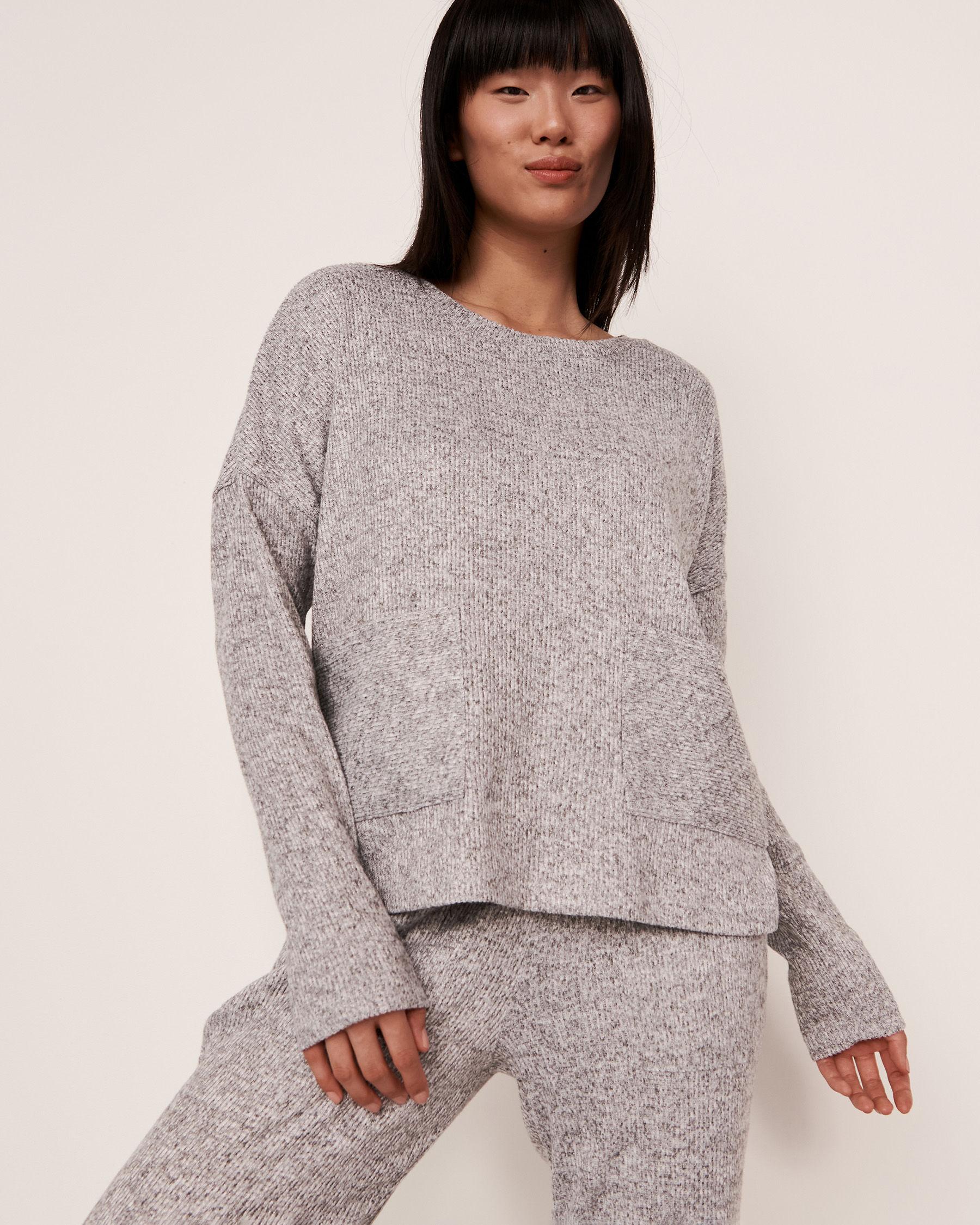 LA VIE EN ROSE Ribbed Long Sleeve Shirt Grey 50100015 - View3