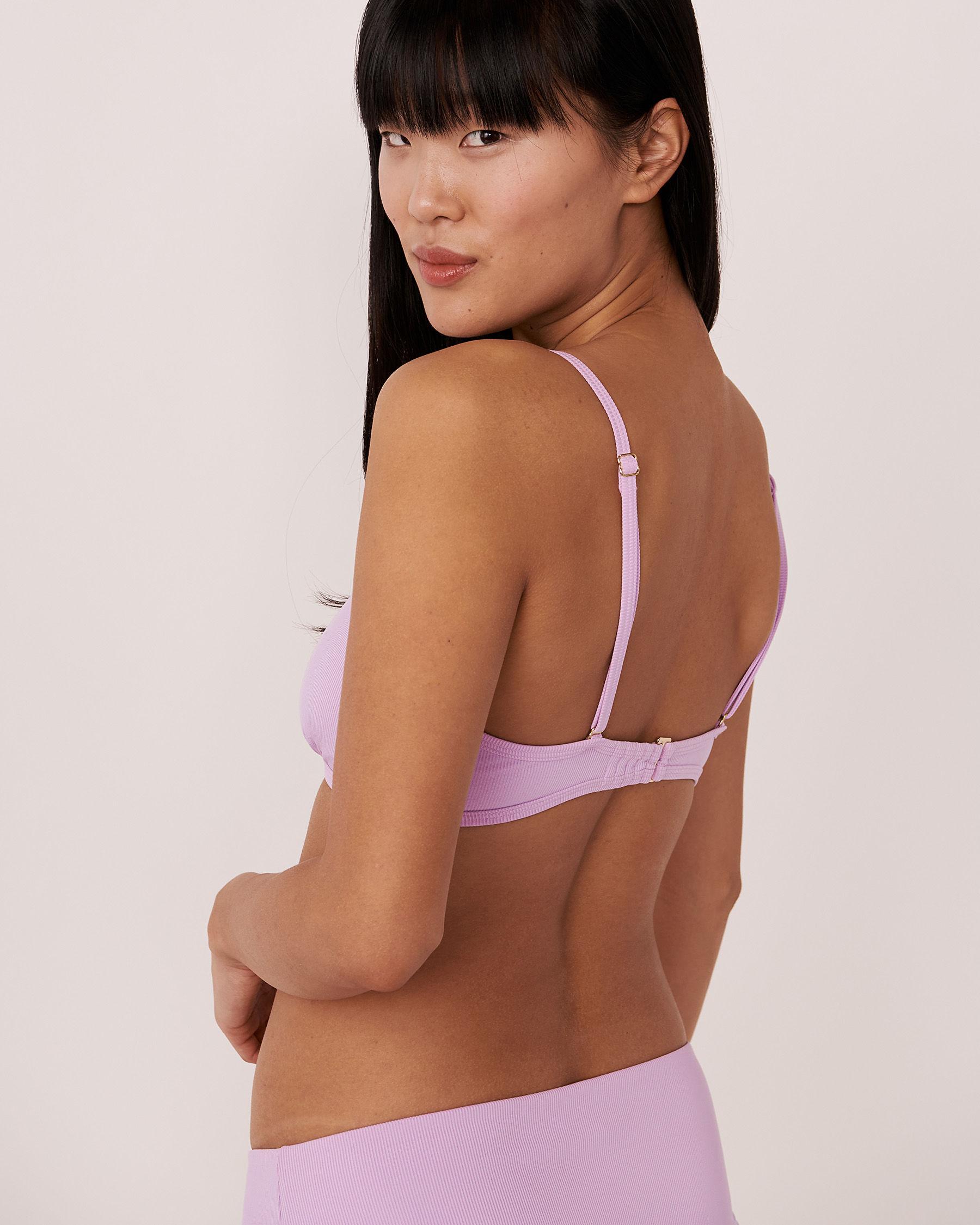 AQUAROSE Haut de bikini bralette en fibres recyclées SOLID RIB Lilas 70100059 - Voir2