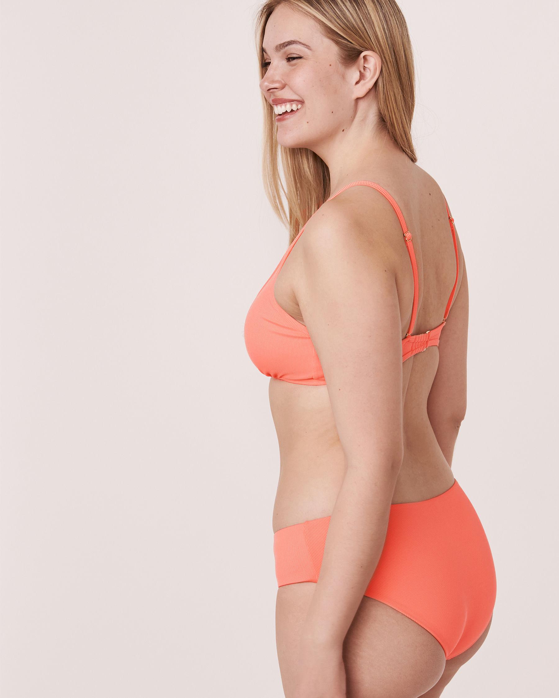 AQUAROSE SOLID RIB Recycled Fibers Bralette Bikini Top Coral 70100059 - View2