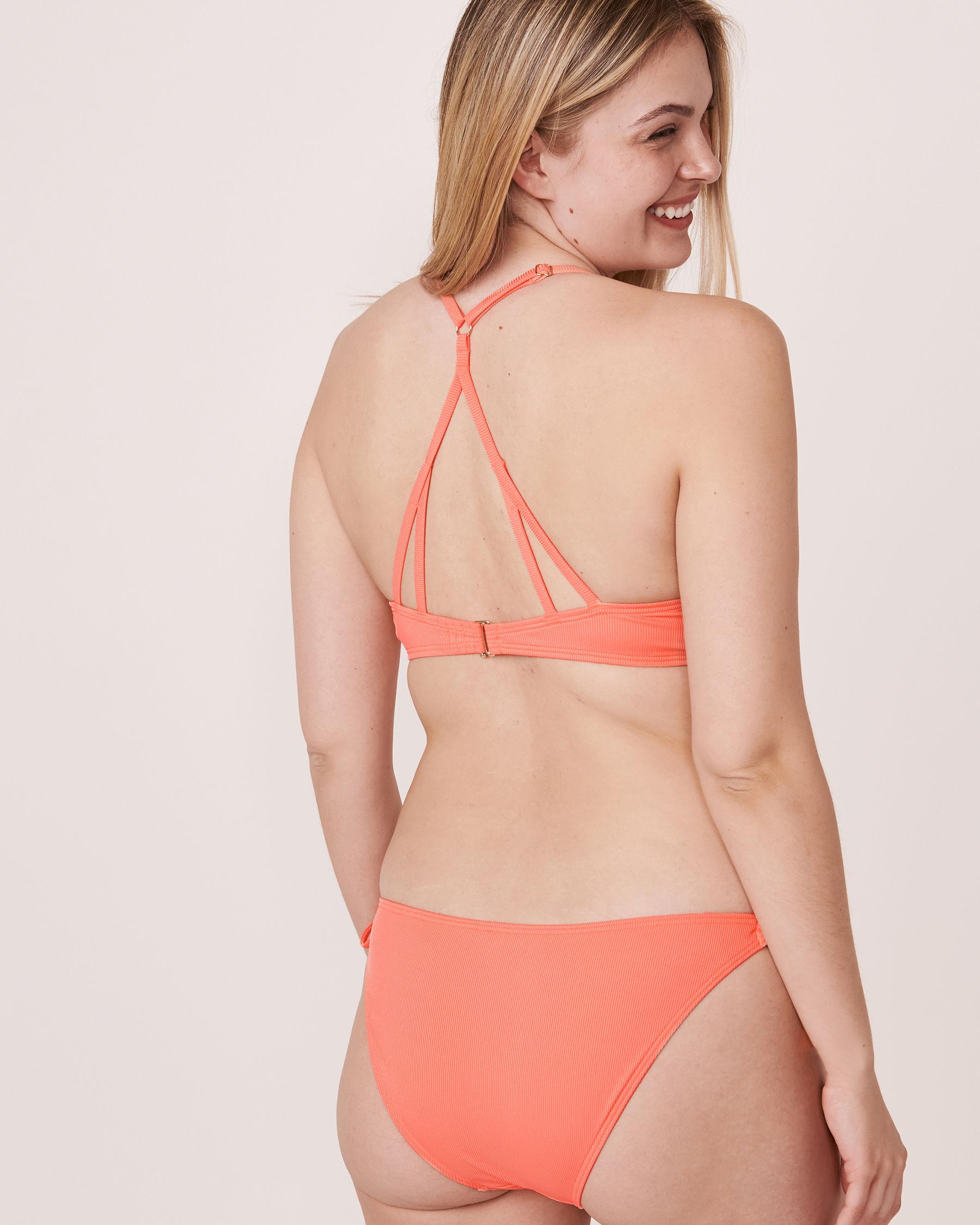 AQUAROSE Haut de bikini push-up en fibres recyclées SOLID RIB Corail 70100061 - Voir3