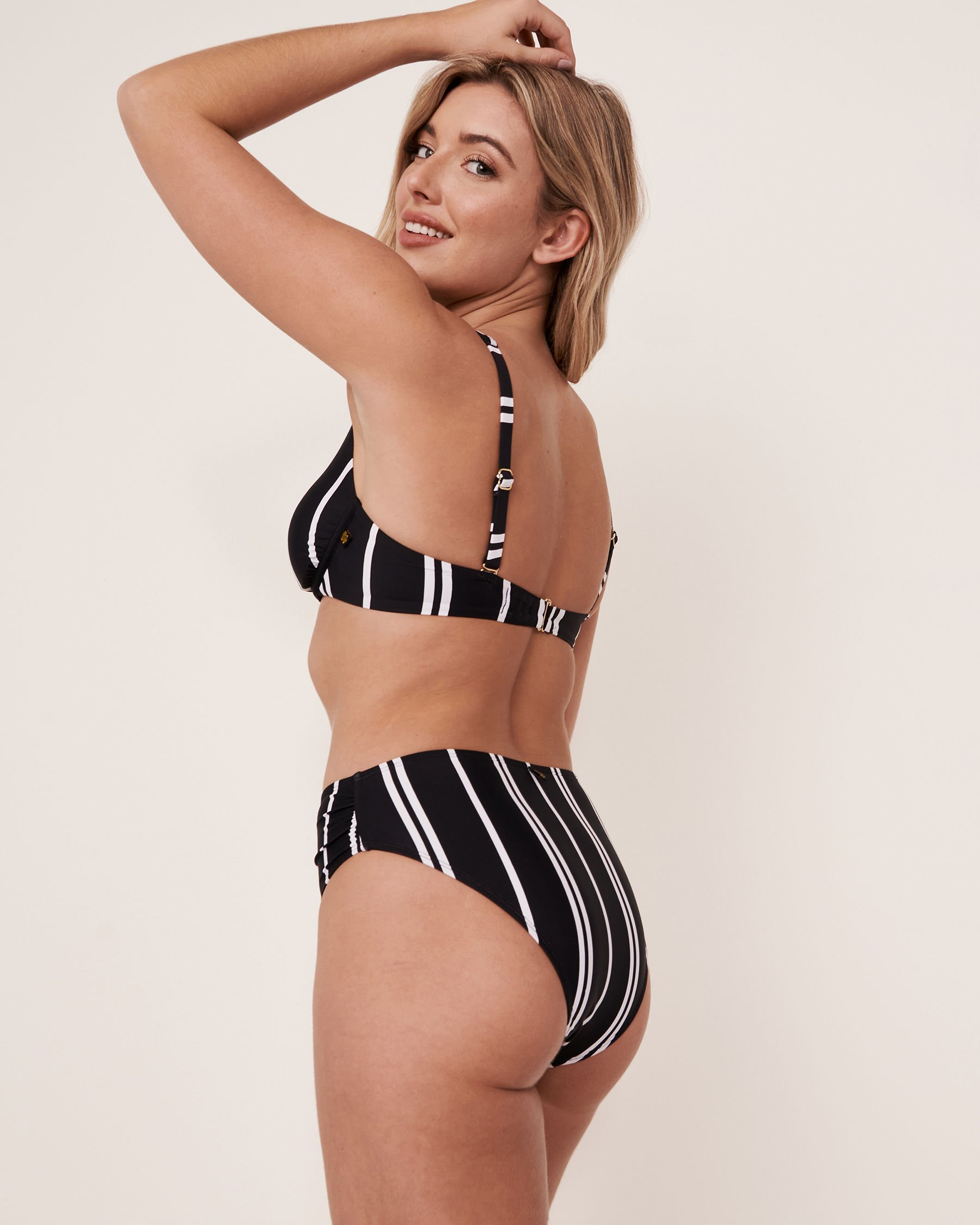 LA VIE EN ROSE AQUA Haut de bikini triangle plongeant ICON Rayures blanches et noires 70100082 - Voir2