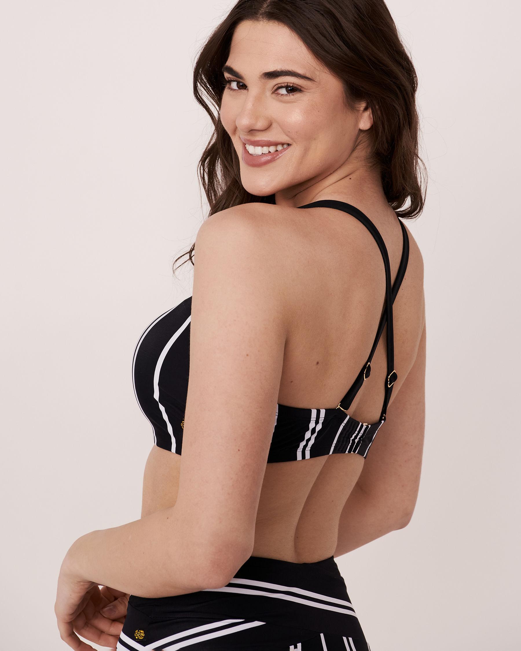 LA VIE EN ROSE AQUA Haut bikini bandeau bonnet D ICON Rayures blanches et noires 70200011 - Voir3