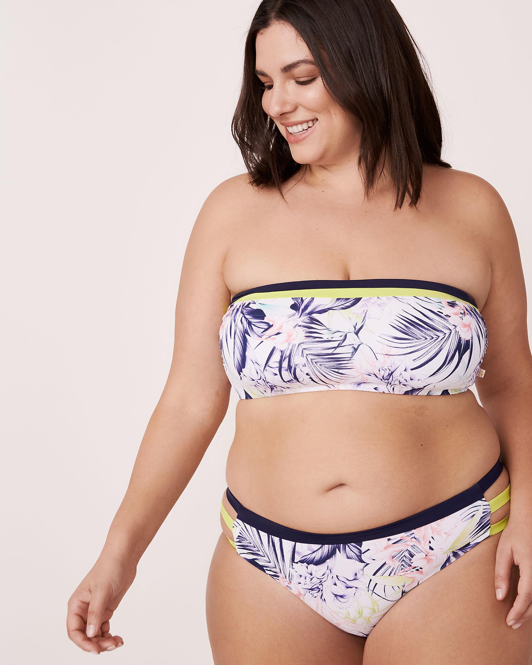 LA VIE EN ROSE AQUA Haut de bikini bandeau lacé RIVER Imprimé tropical 70100011 - Voir3