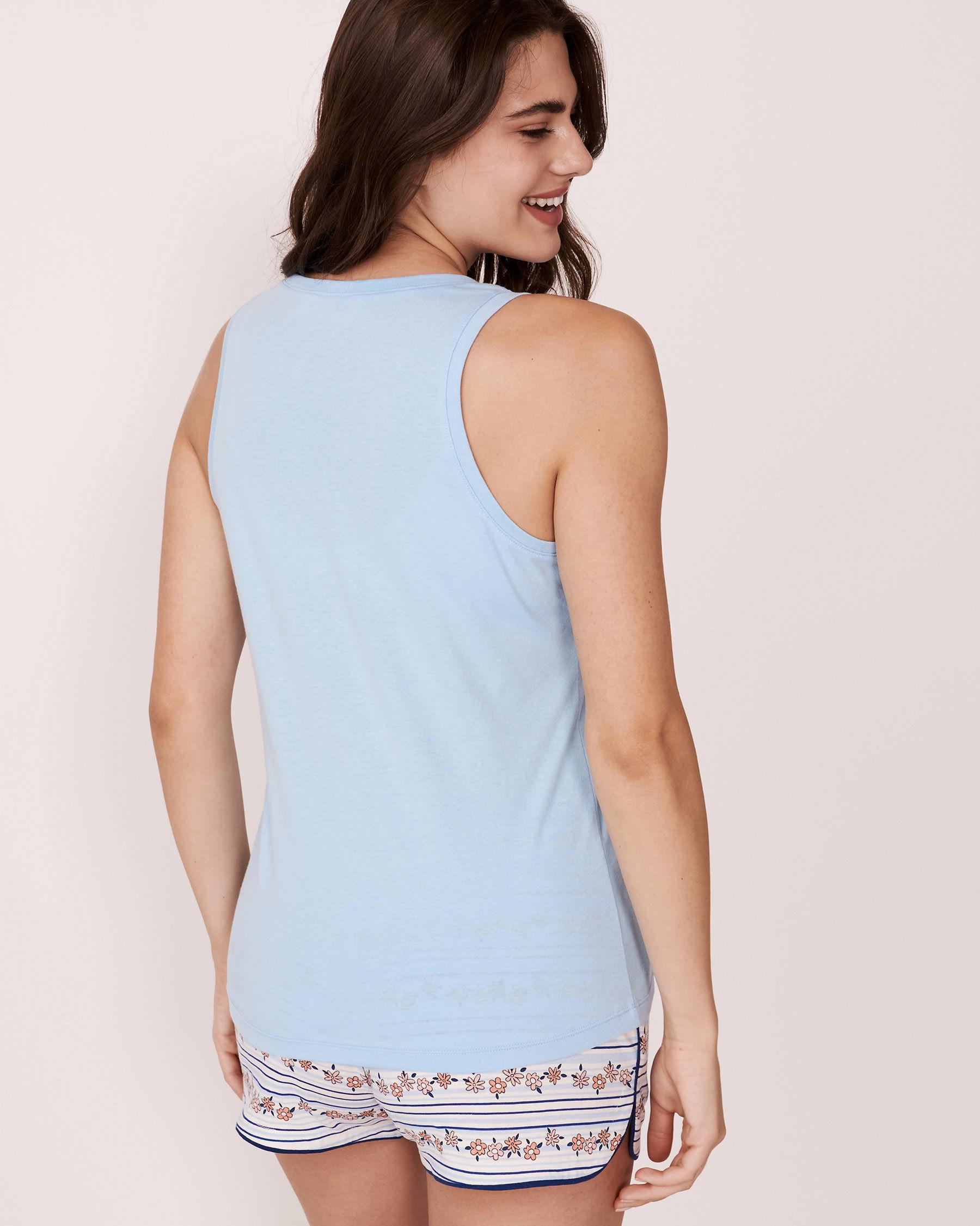 LA VIE EN ROSE Camisole encolure en V Bleu pâle 878-385-0-11 - Voir3