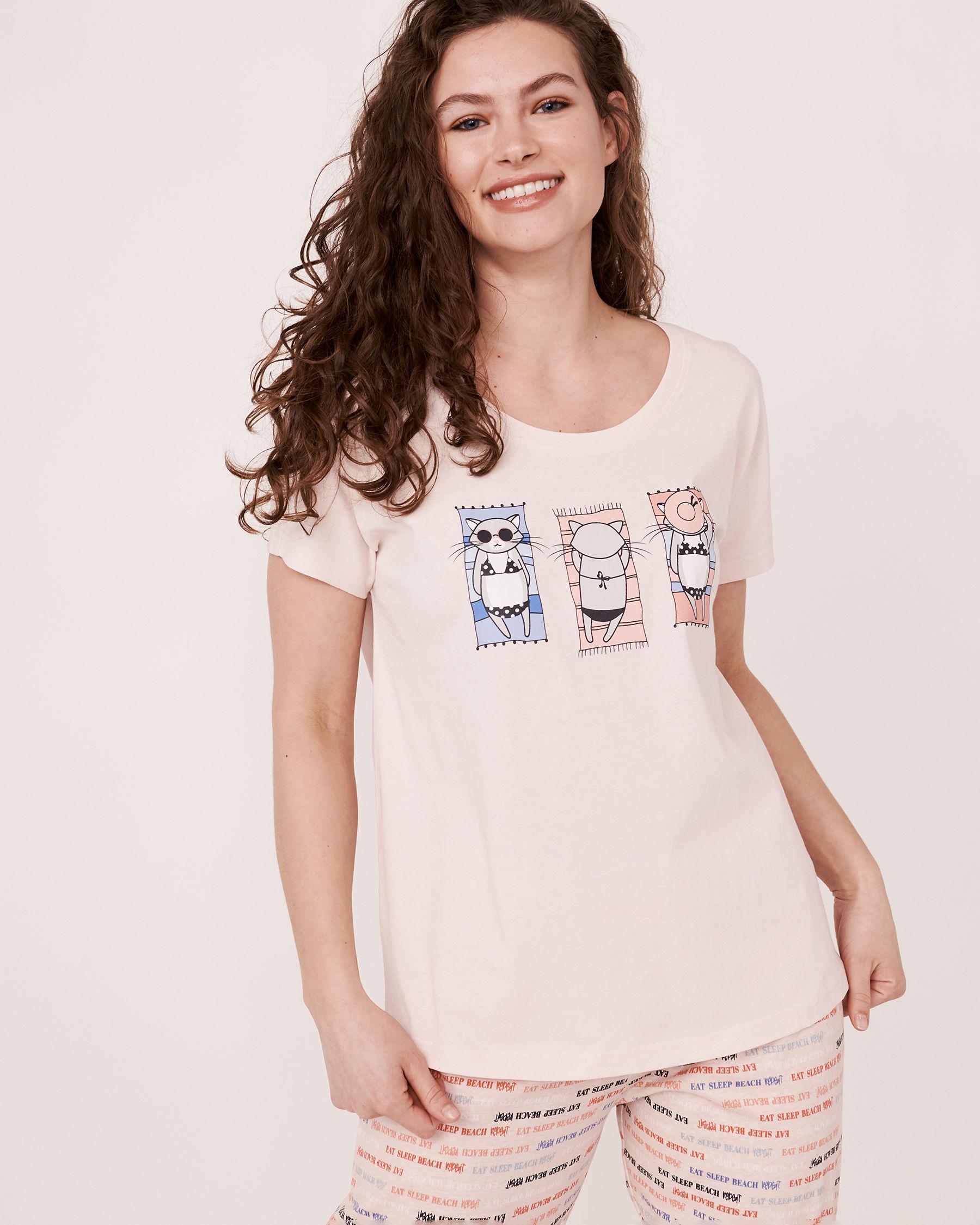 LA VIE EN ROSE Crew Neck T-shirt Soft lilac 40100037 - View1
