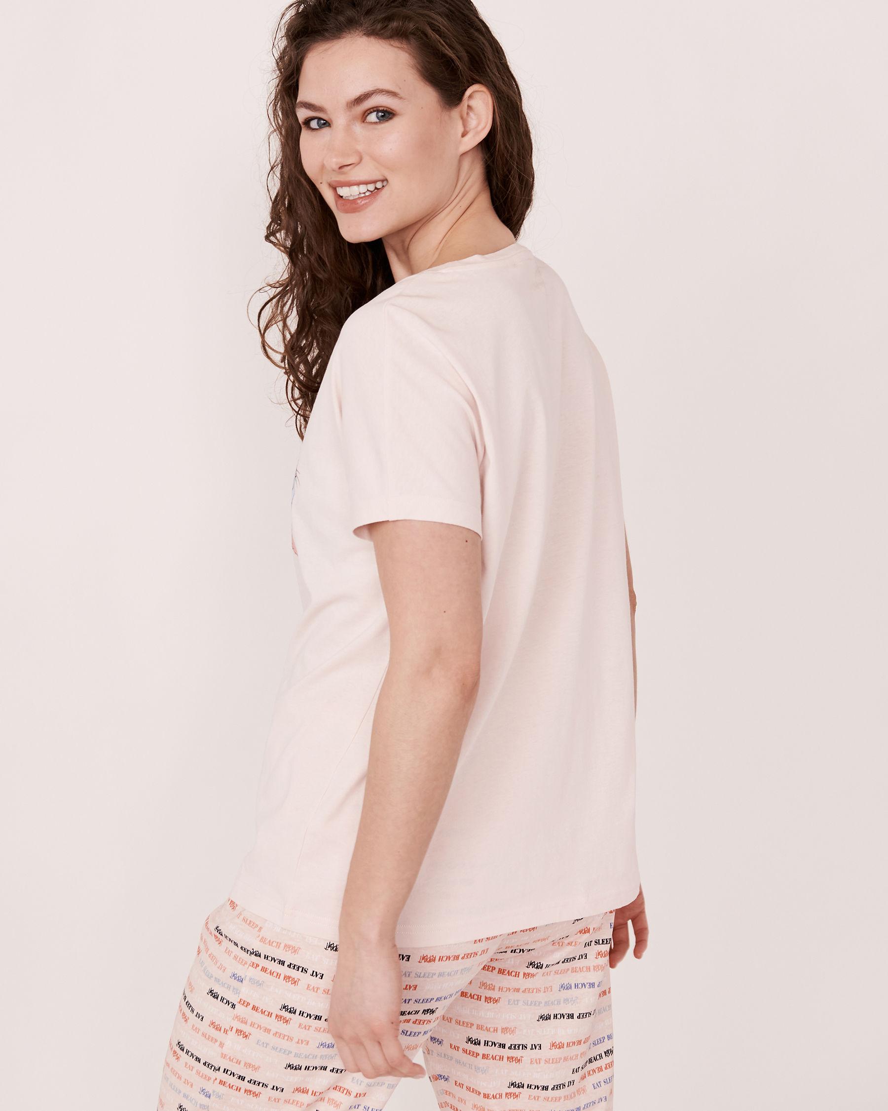 LA VIE EN ROSE Crew Neck T-shirt Soft lilac 40100037 - View2