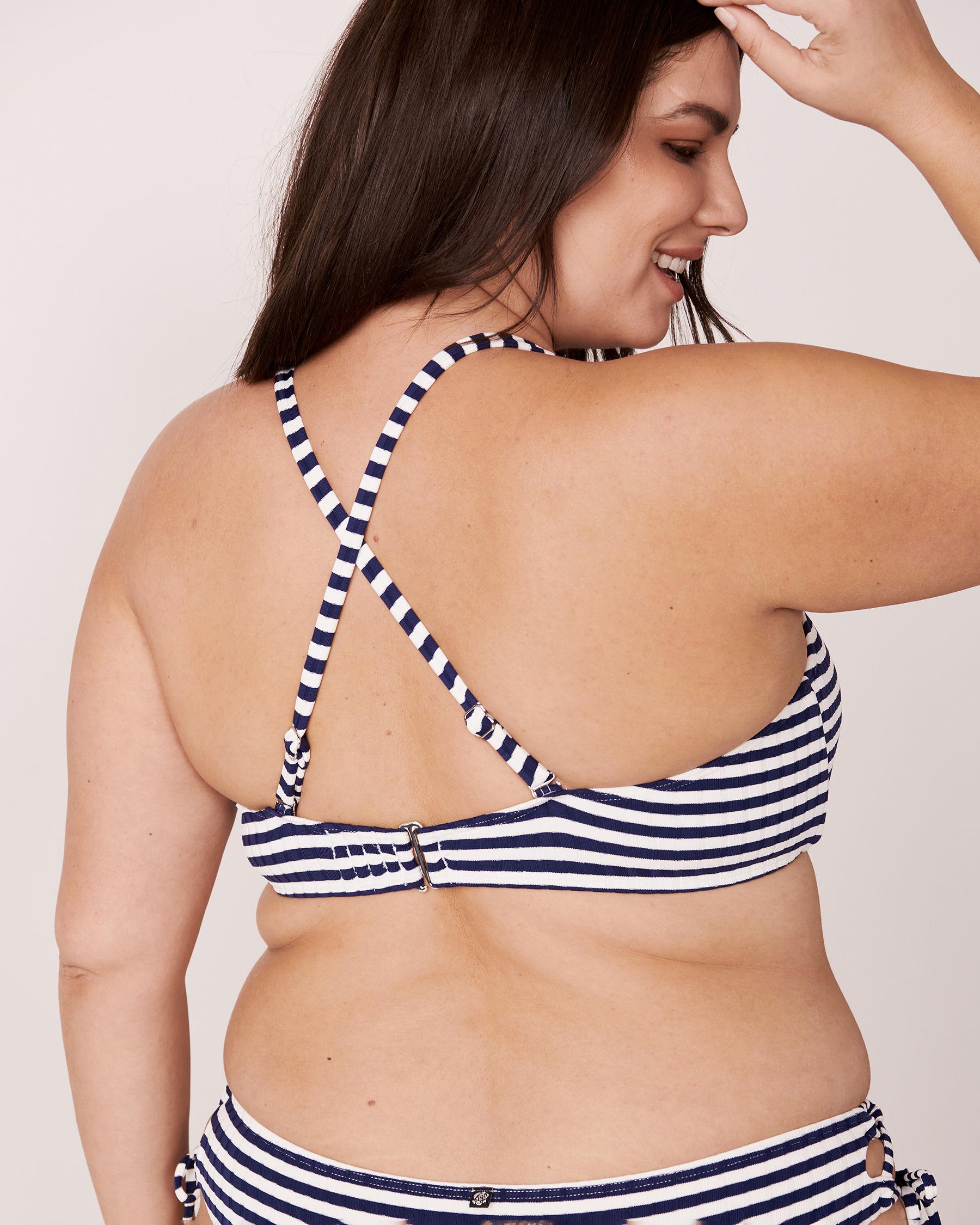 LA VIE EN ROSE AQUA Haut de bikini bralette bonnet D en fibres recyclées NAVY STRIPE Rayures bleues et blanches 70200003 - Voir5