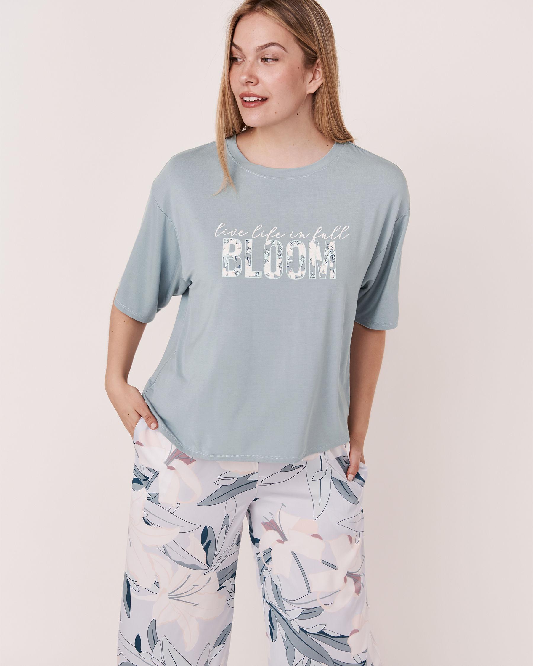 LA VIE EN ROSE Chandail manches courtes tombantes Bleu gris 40100068 - Voir1