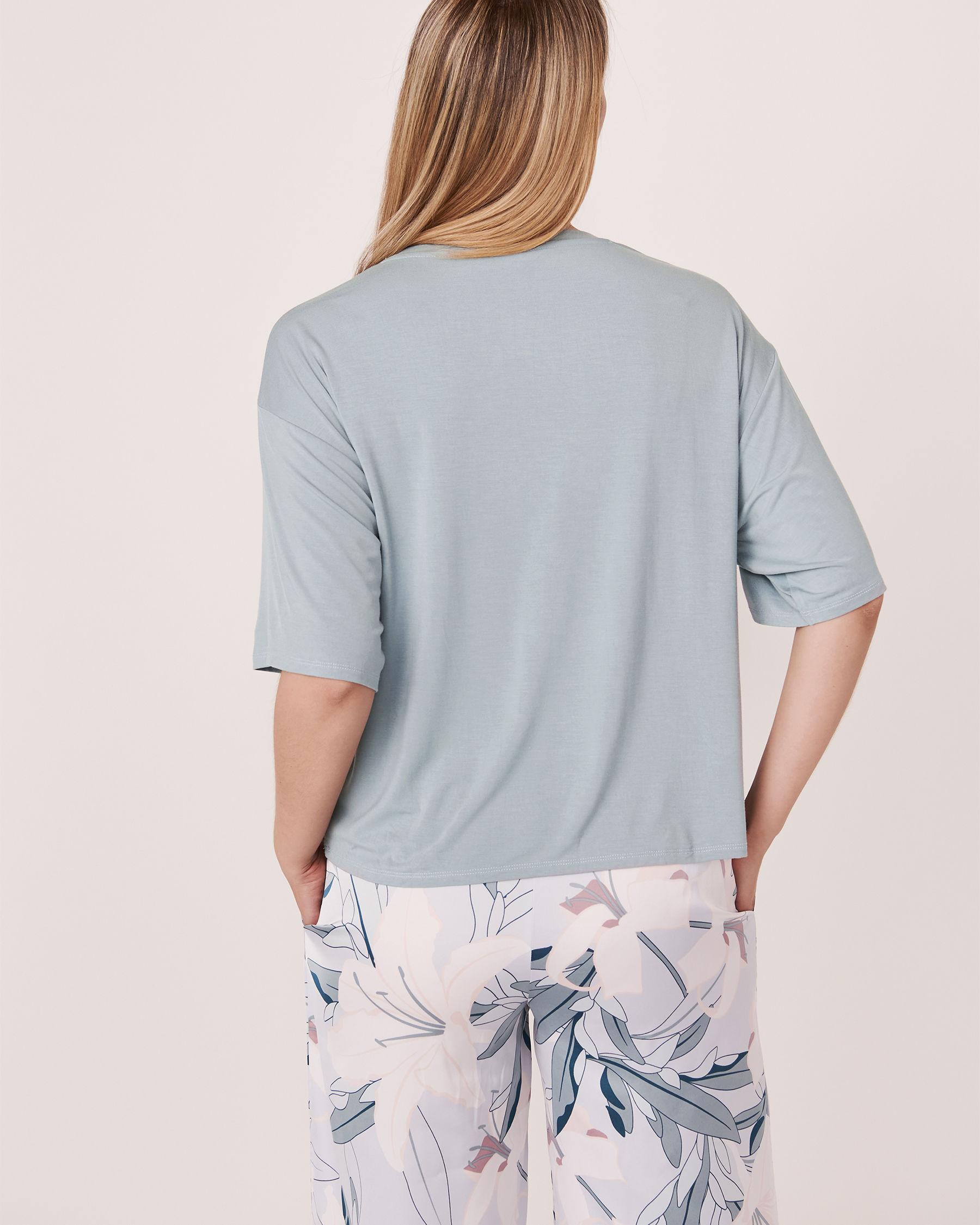 LA VIE EN ROSE Chandail manches courtes tombantes Bleu gris 40100068 - Voir2