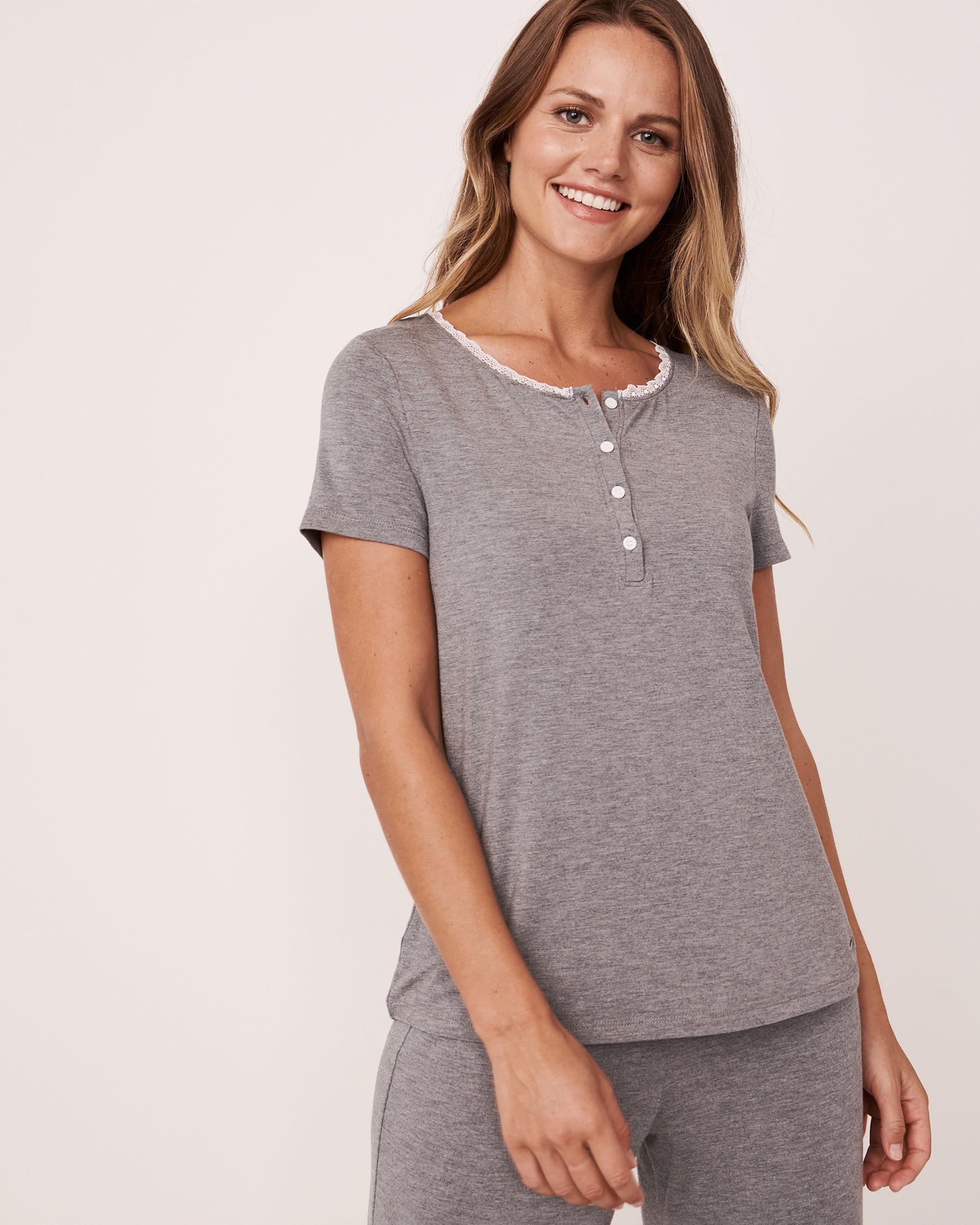 LA VIE EN ROSE Henley T-shirt Charcoal mix 50100008 - View1