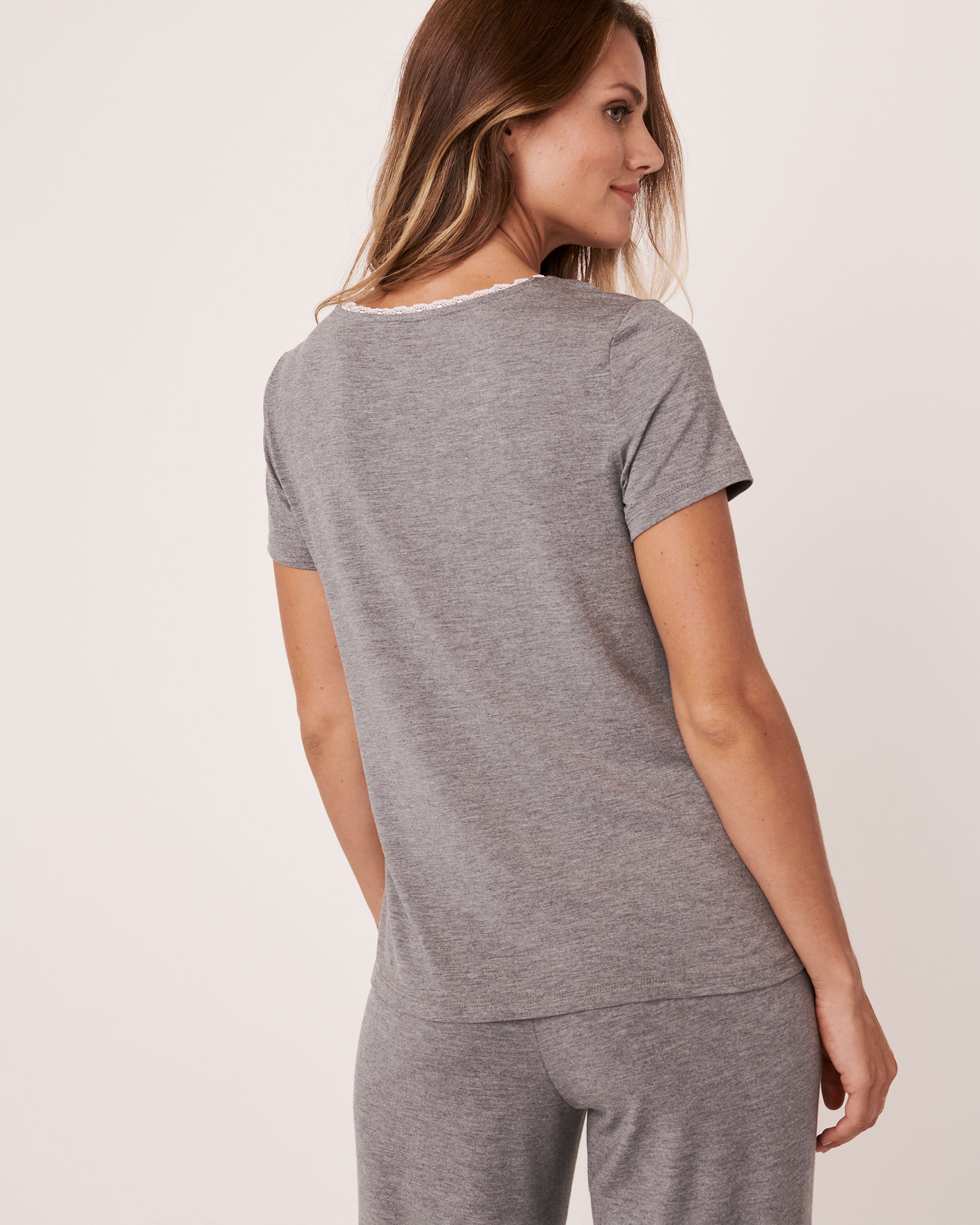 LA VIE EN ROSE Henley T-shirt Charcoal mix 50100008 - View2