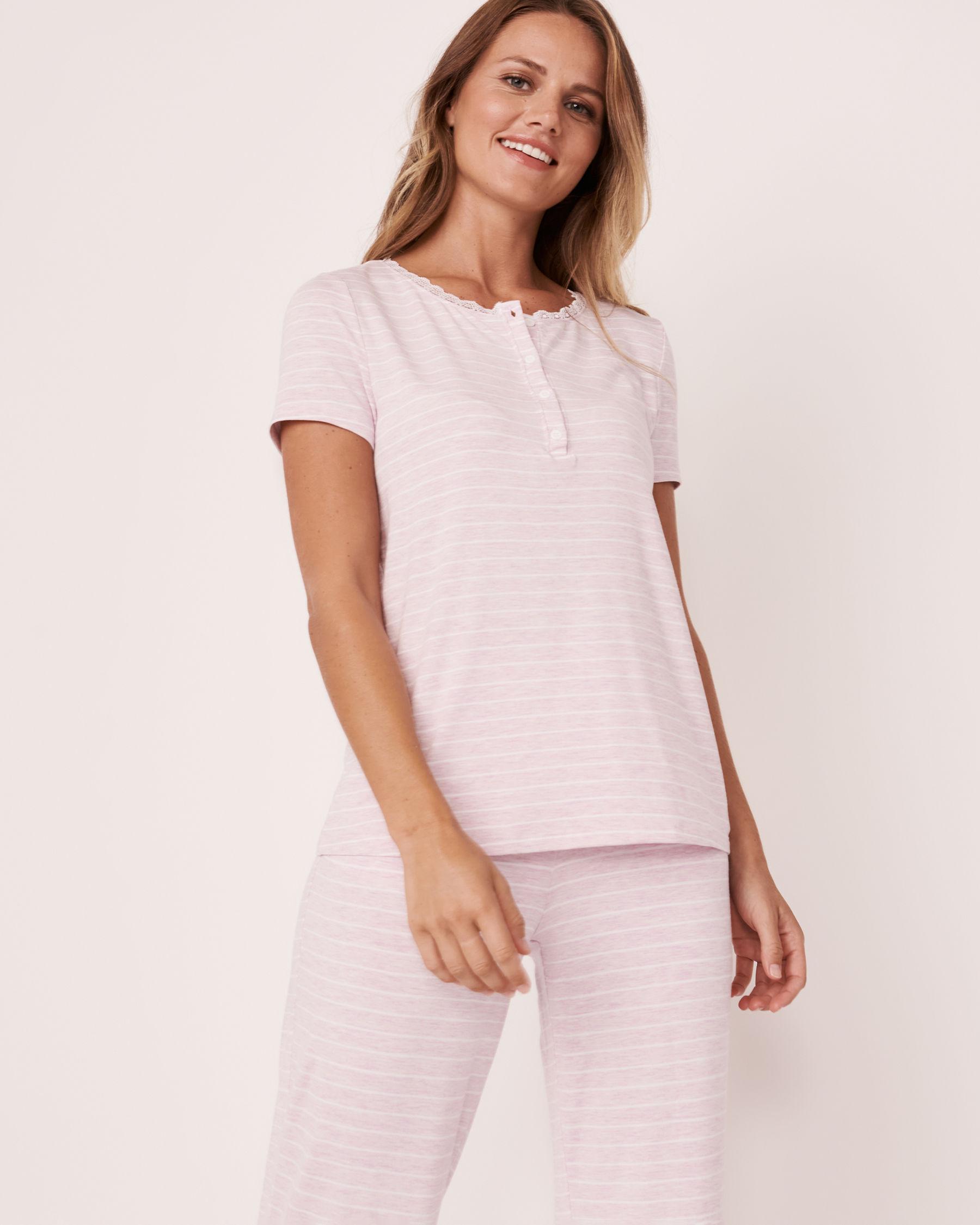 LA VIE EN ROSE Henley T-shirt Stripes 50100008 - View1