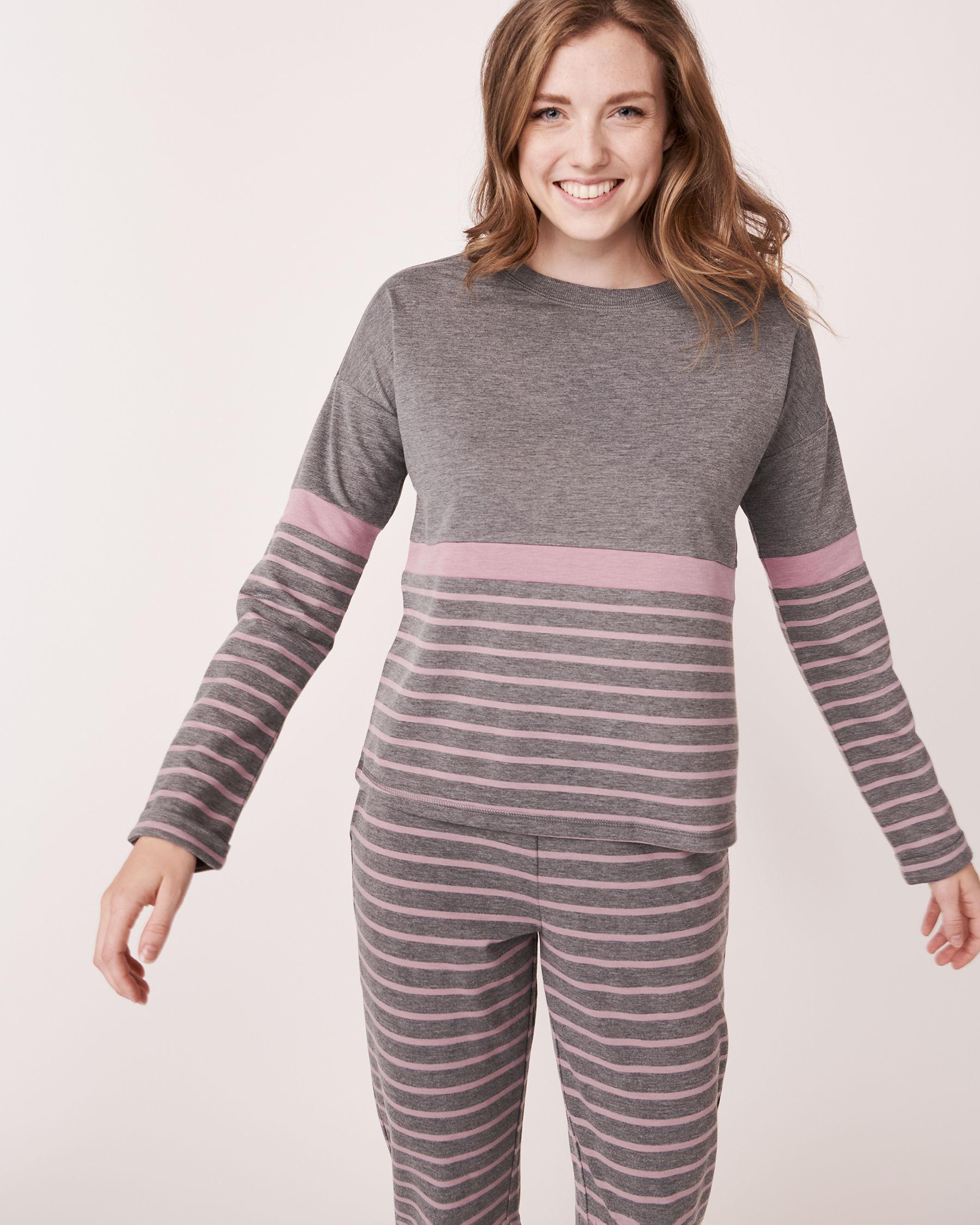 LA VIE EN ROSE Long Sleeve Striped Shirt Grey and pink mix 768-373-0-11 - View1