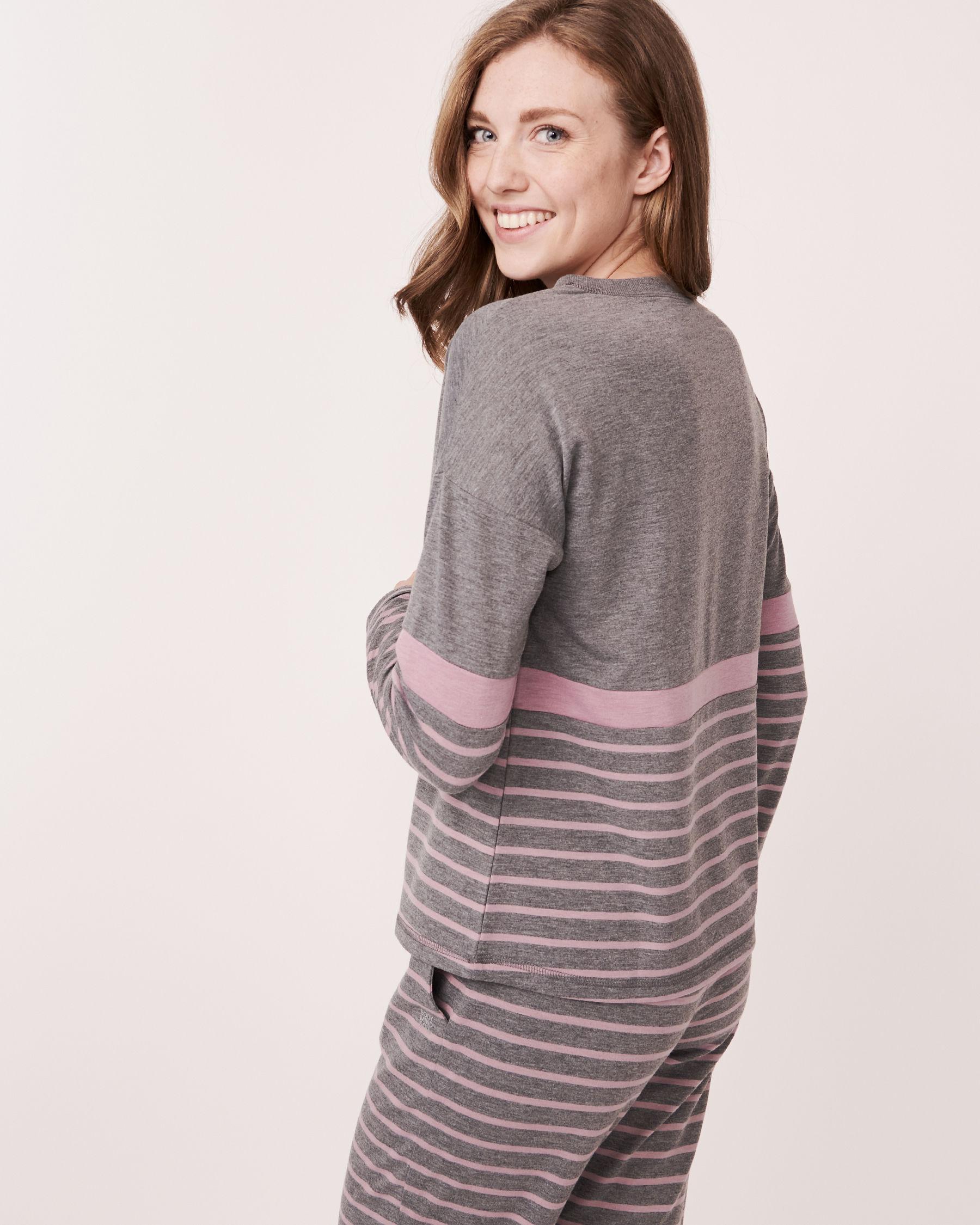 LA VIE EN ROSE Long Sleeve Striped Shirt Grey and pink mix 768-373-0-11 - View2